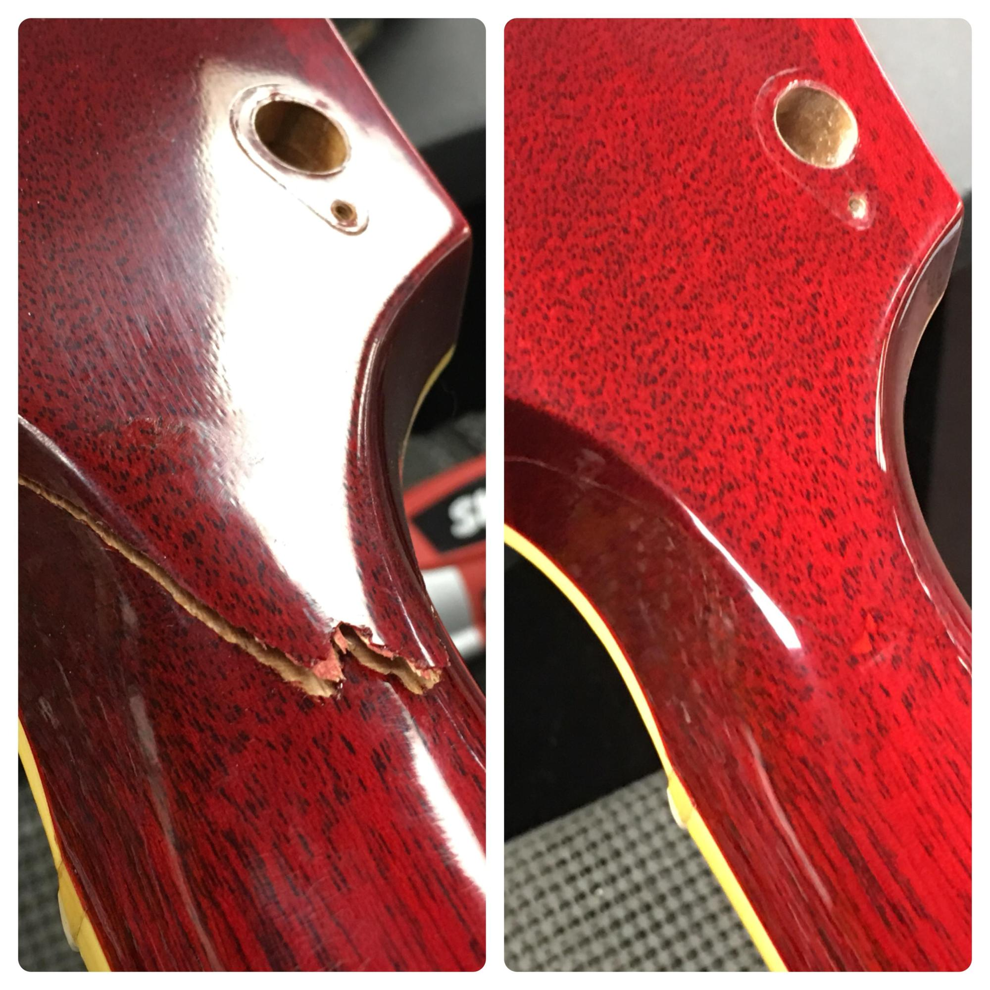 hight resolution of a recent headstock repair i did on a gibson es 345 i u0027m reallya recent
