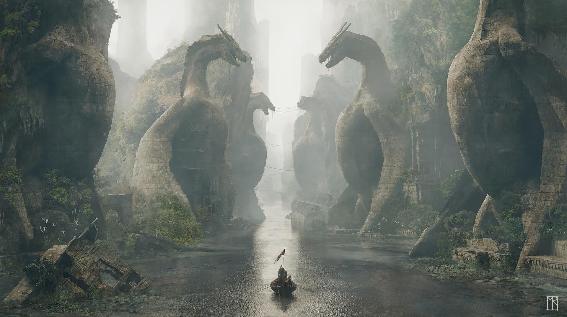 Sailing a boat between dragon statues