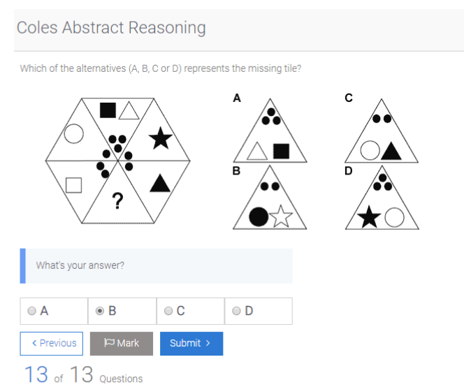 The last abstract reasoning question for a job app which