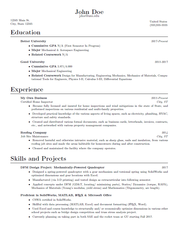 Critique my resume Also read comment below for more information  EngineeringStudents