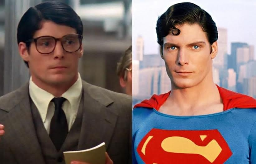 In Superman, when Christopher Reeve portrays Clark Kent his hair is parted  to the right. When he turns into Superman, he parts his hair on the left. :  MovieDetails