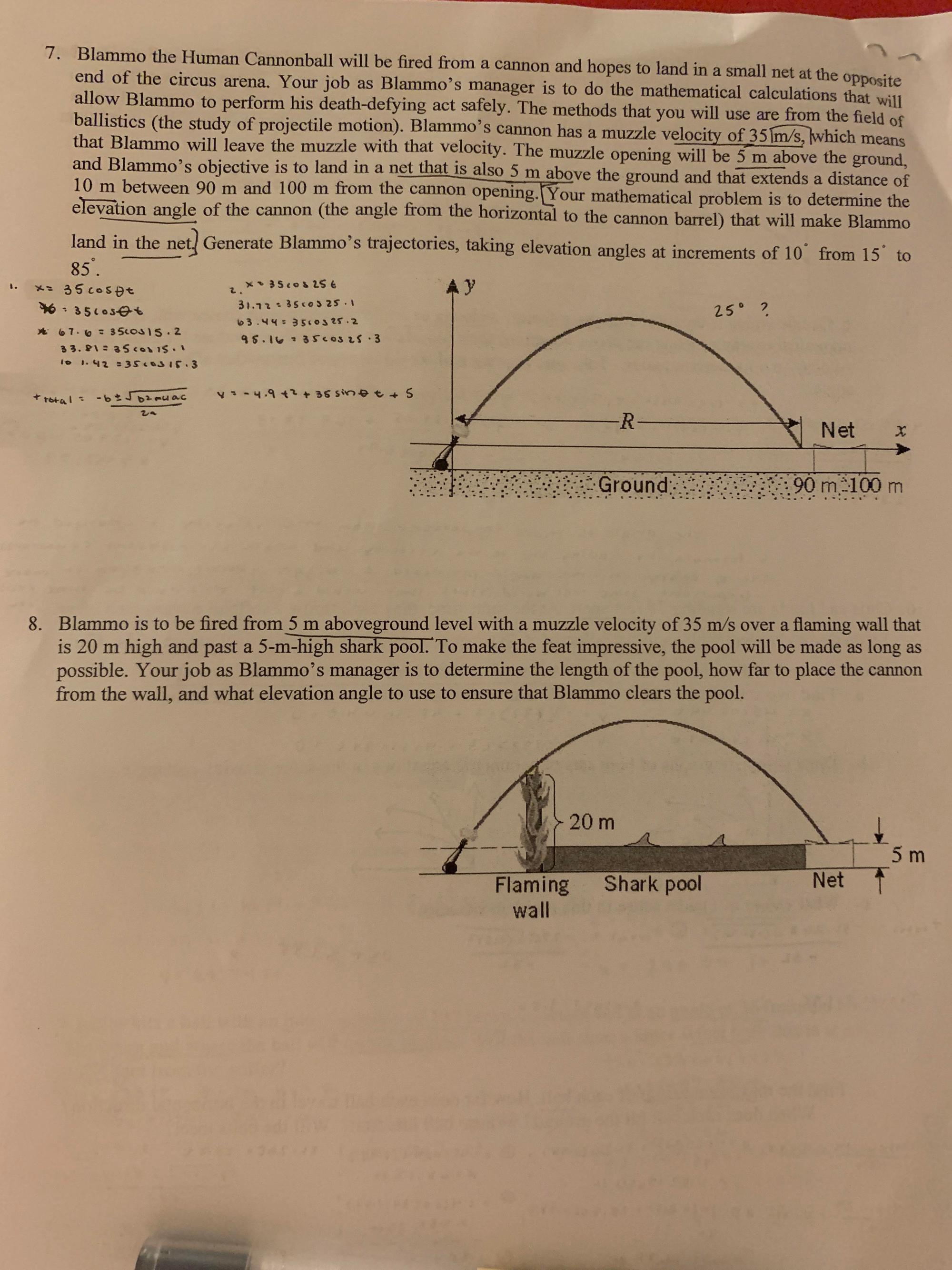 hight resolution of Grade 10 Precalc How to solve this Parametric Equation Word Problem? I'm  stumped on the process (ex. I don't understand what I'm supposed to be  finding...Do I guess and check? or is