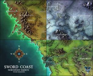 OC][ART] Sword Coast Map for the new Waterdeep:Dragon Heist adventure! : DnD