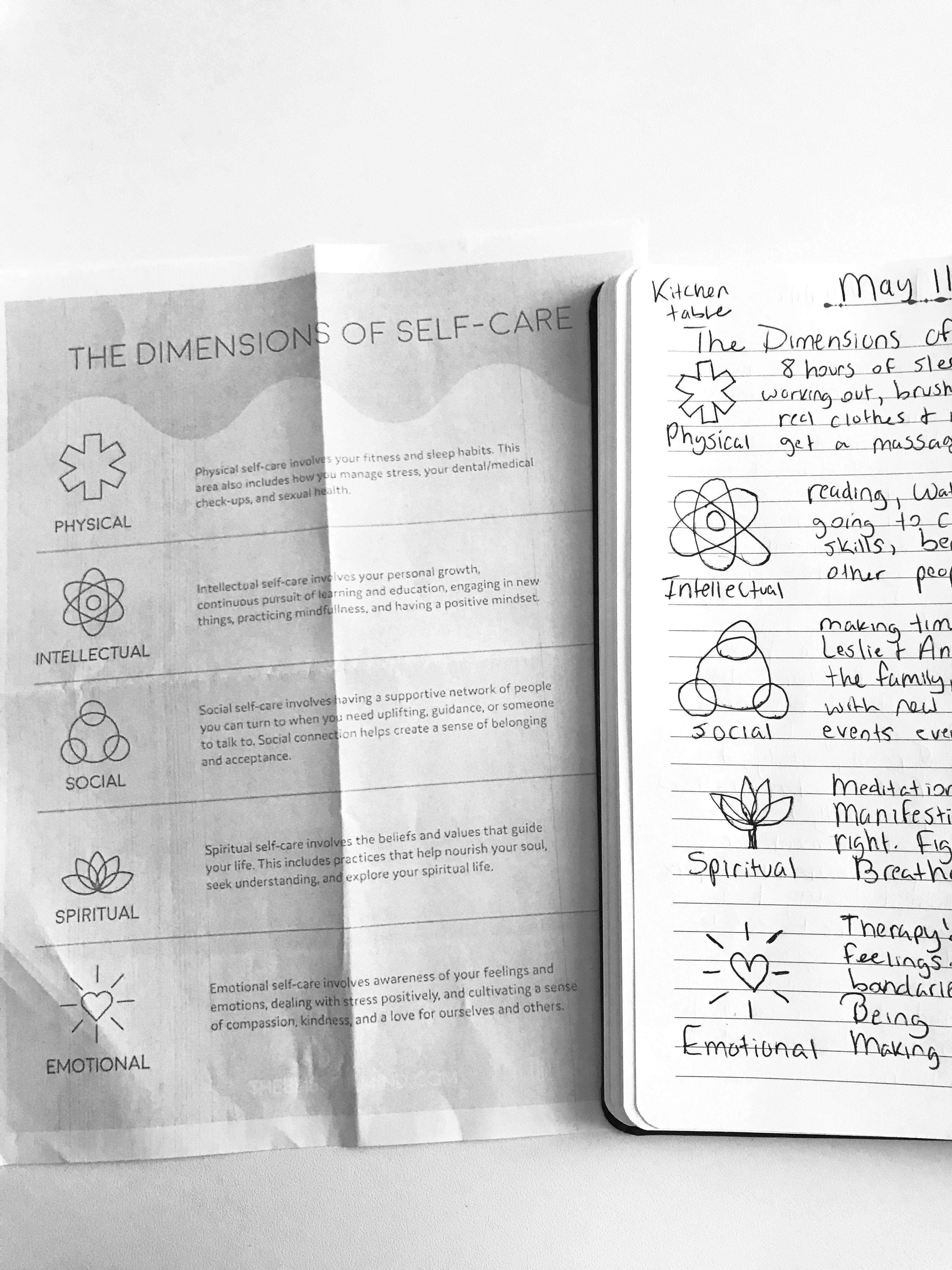 5 Dimensions Of Self Care I Wrote What I Do In Each Area