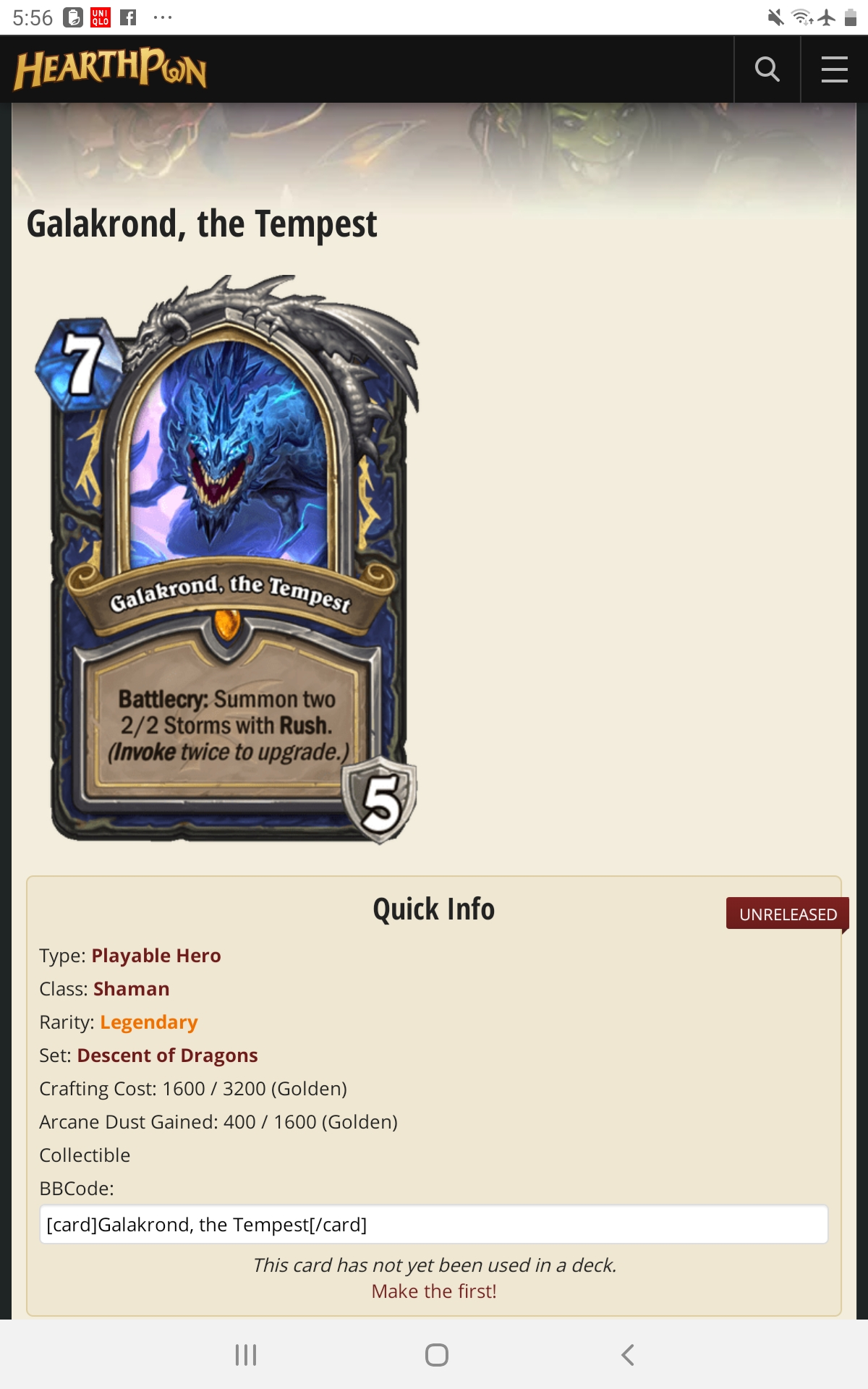 I was thinking of submitting something linked. Veldora goes into hearthstone,but with a new first name ...