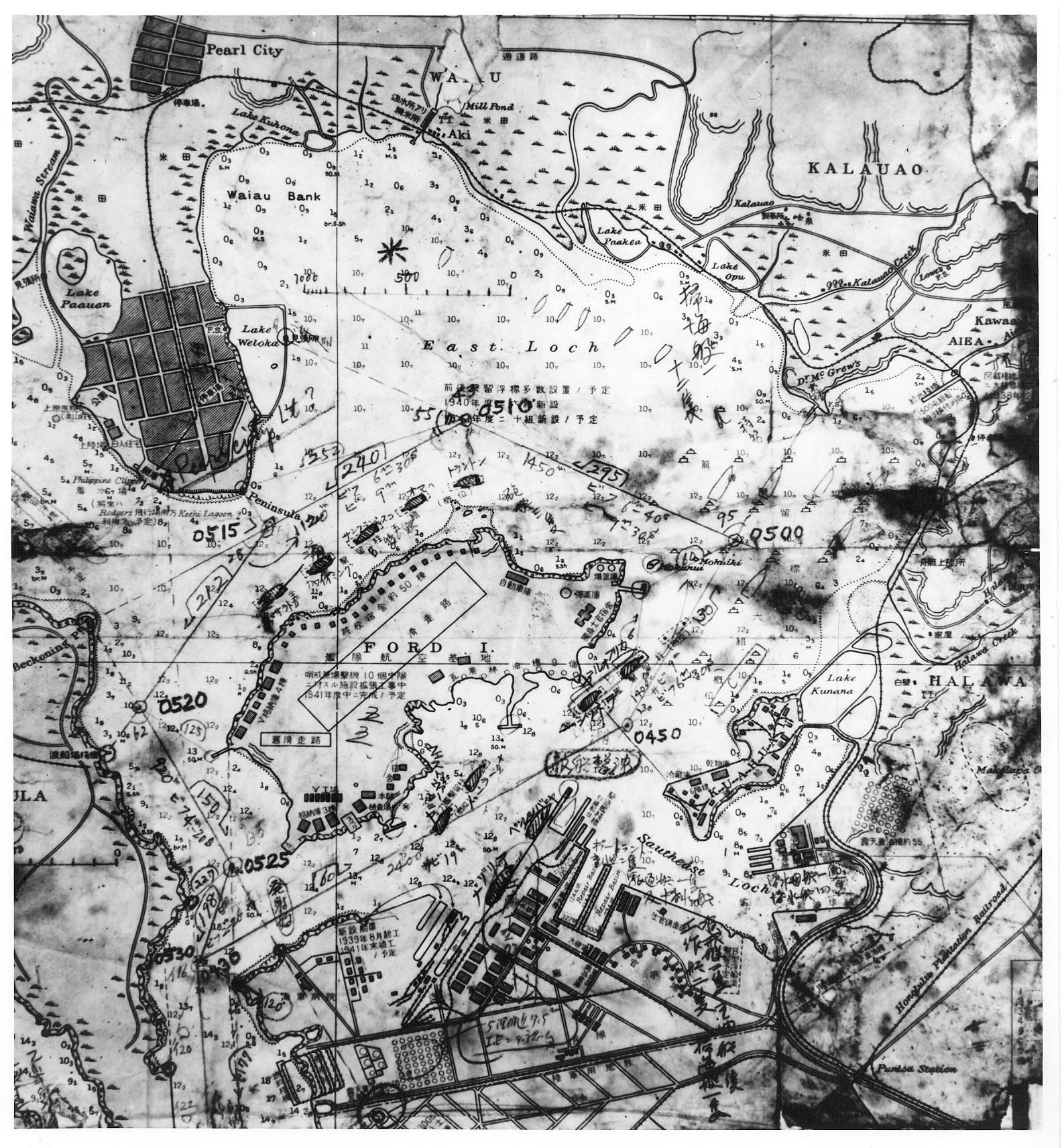 Japanese Map Showing Pearl Harbor Oahu Hawaii Usa That Was Found In A Captured Midget