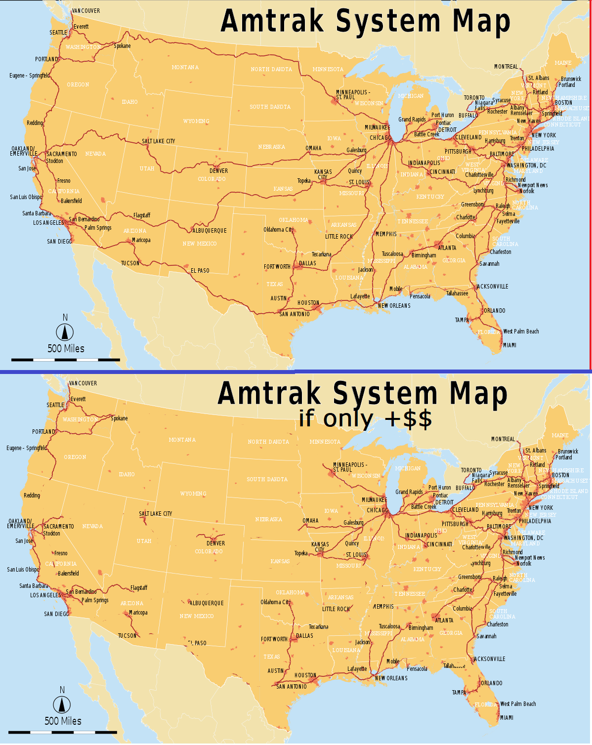 Amtrak Train Status Map : amtrak, train, status, System, Amtrak, (top), Versus, For-profit, (below), MapPorn