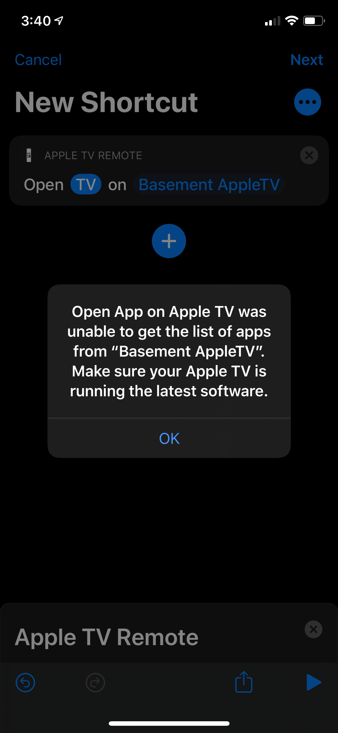 Unable to Select App for Apple TV Remote : shortcuts