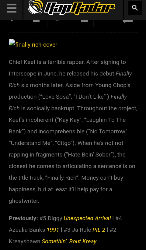 Chief Keef Laughing To The Bank : chief, laughing, Rapradar, Article, WORST, ALBUMS, CHIEF, FINALLY, Chiraqology