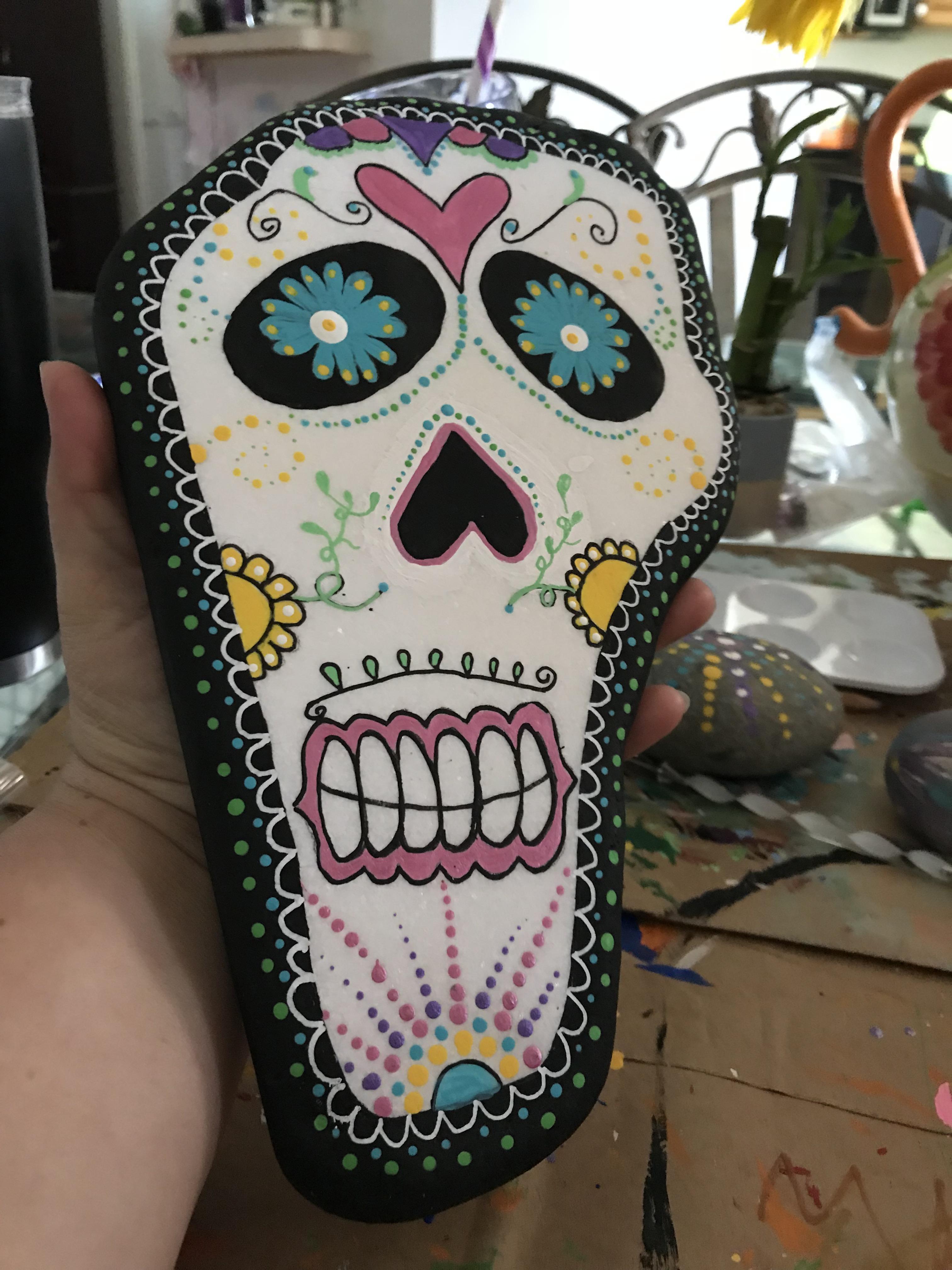 Sugar Skull Rock Painting : sugar, skull, painting, Sugar, Skull, Painted, Rock., Crafts