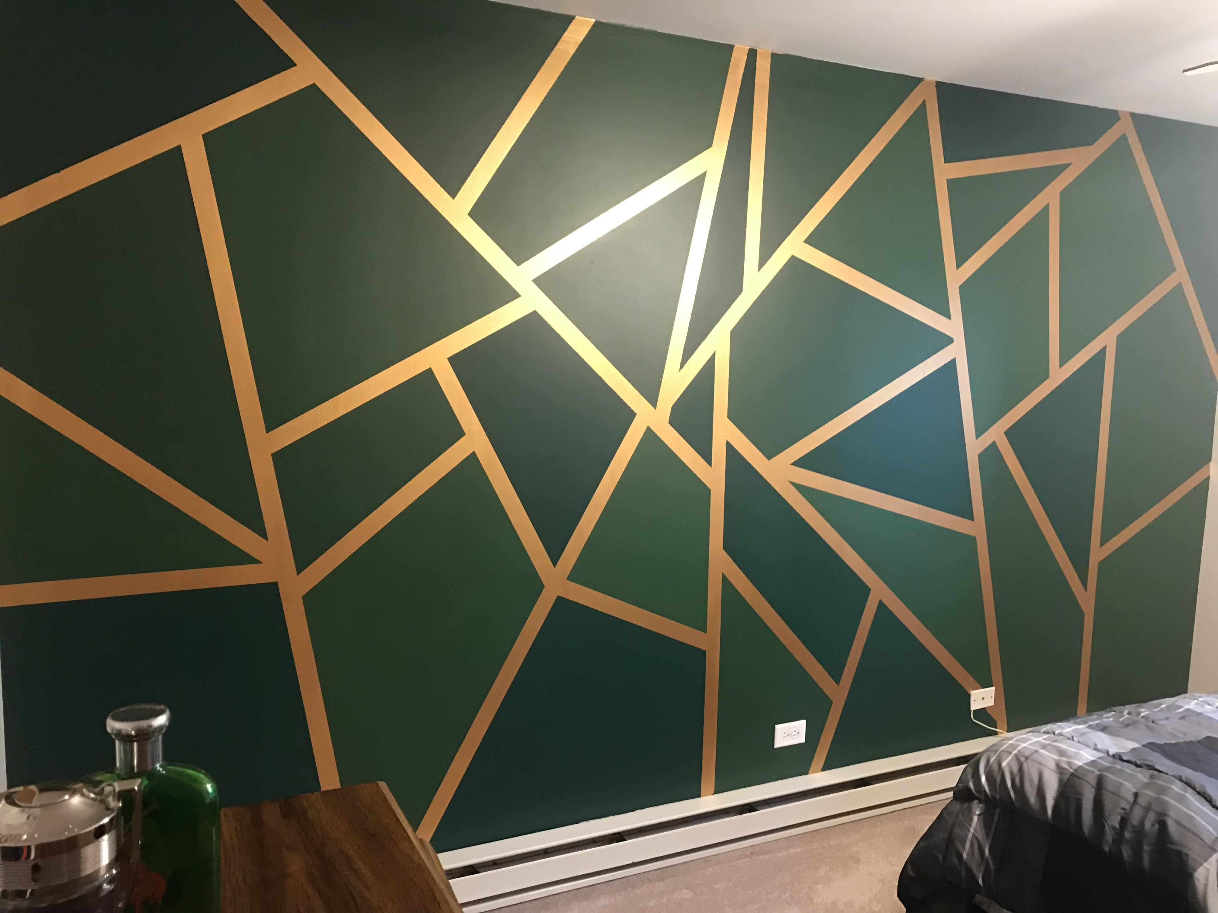Got some inspiration from a pillow on Pinterest. My geometric wall