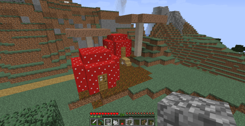 Start of a mushroom village for my daughter Took me forever to find red mushrooms in this world Nothing fancy but I think she will like it : Minecraft