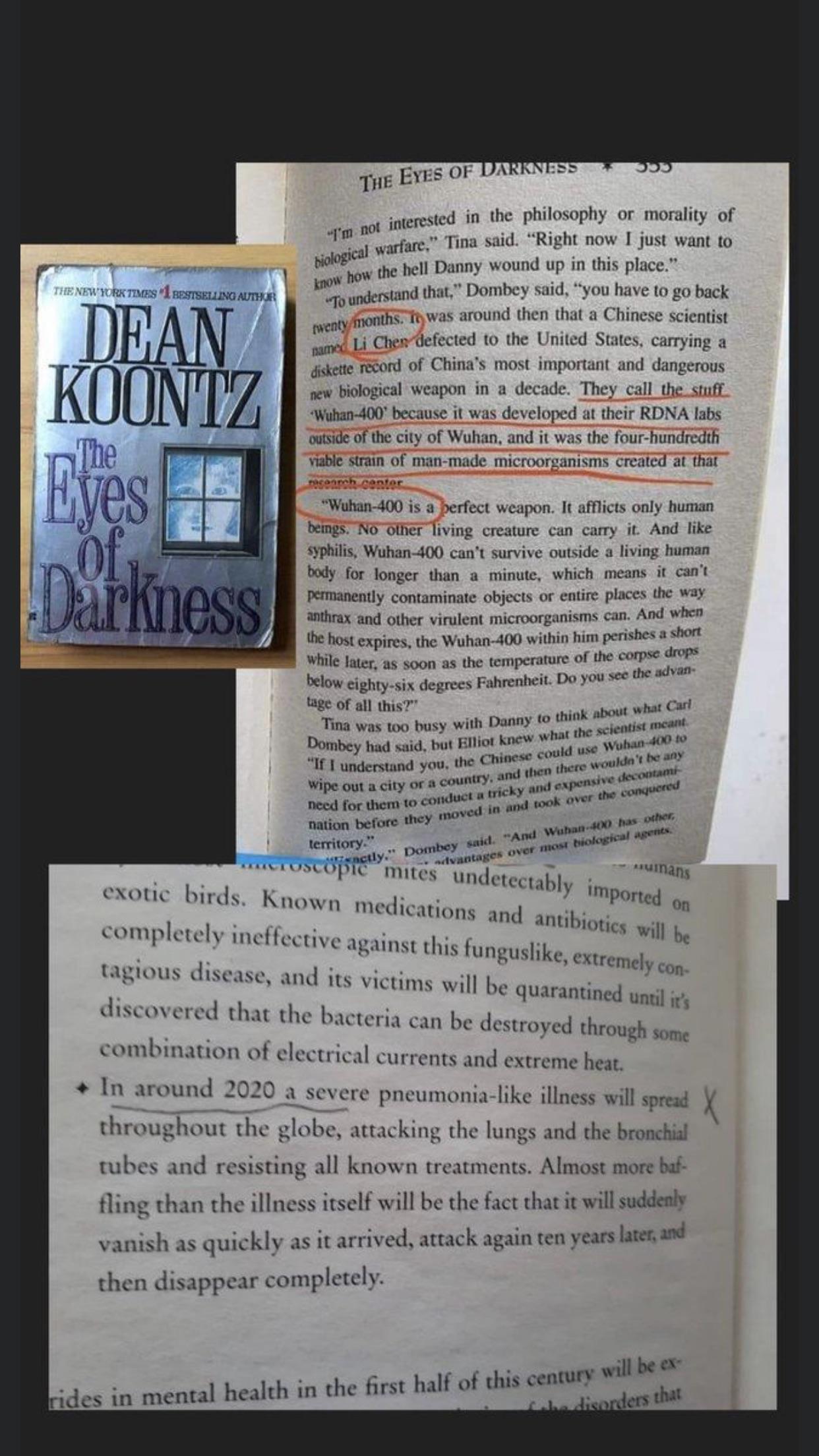1981 Dean Koontz Novel...eerily depicting a similar virus called ...