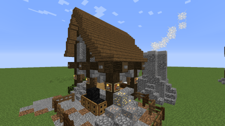 Detail Rustic Blacksmith Home & Forge : Minecraft