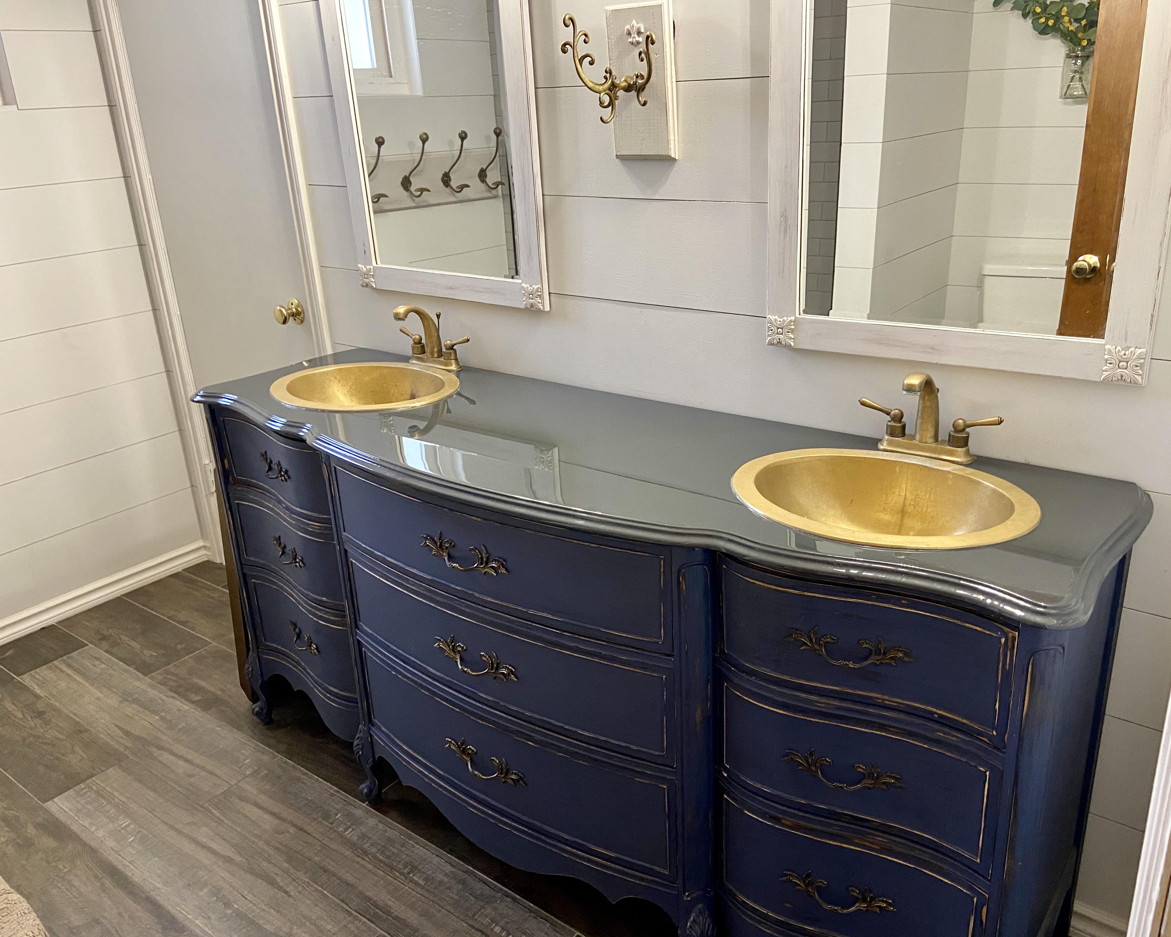 This Vintage Dresser That We Made Into A Bathroom Vanity Mildlyinteresting