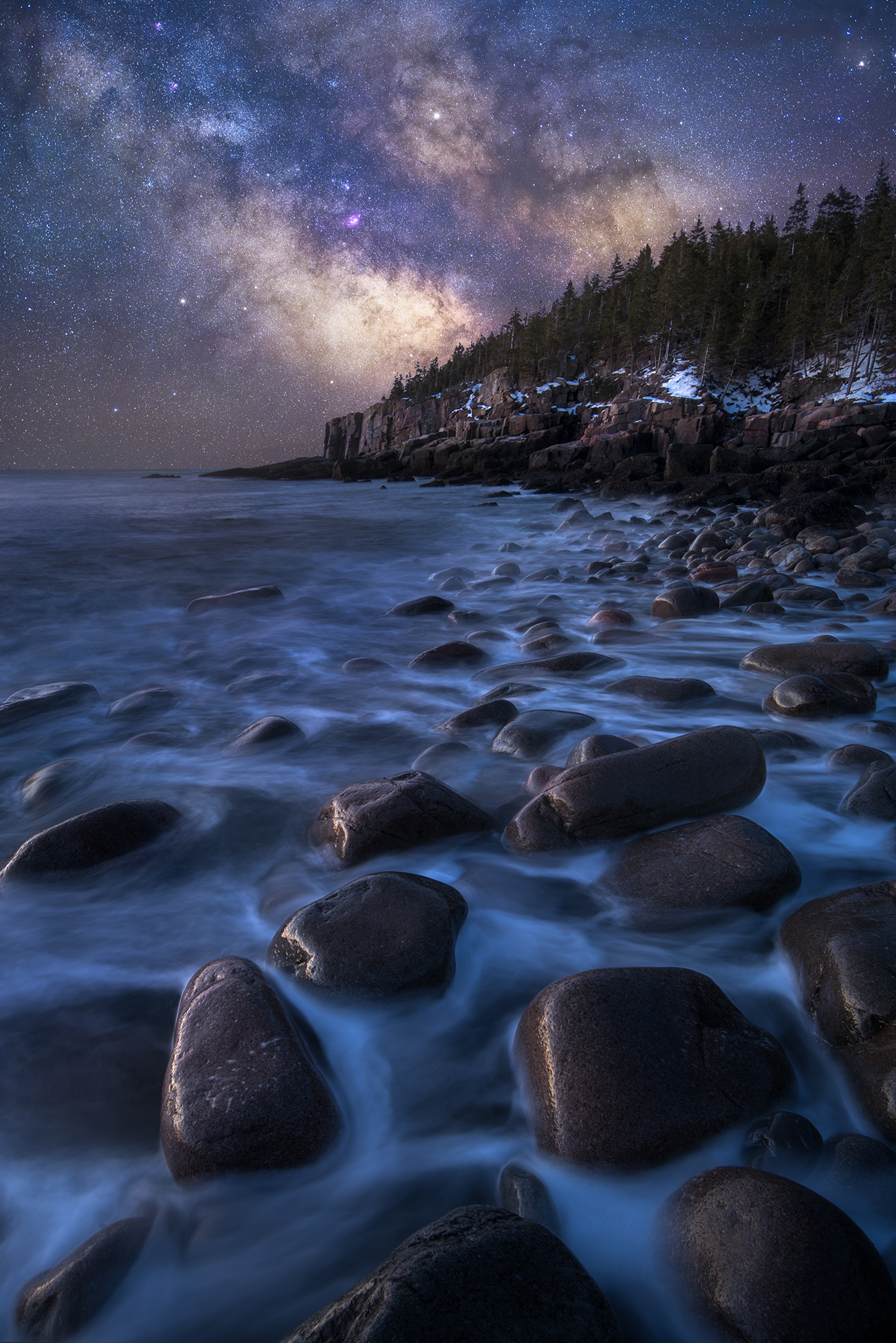 The Milky Way Rises Over Otter Cliffs Seen From Boulder
