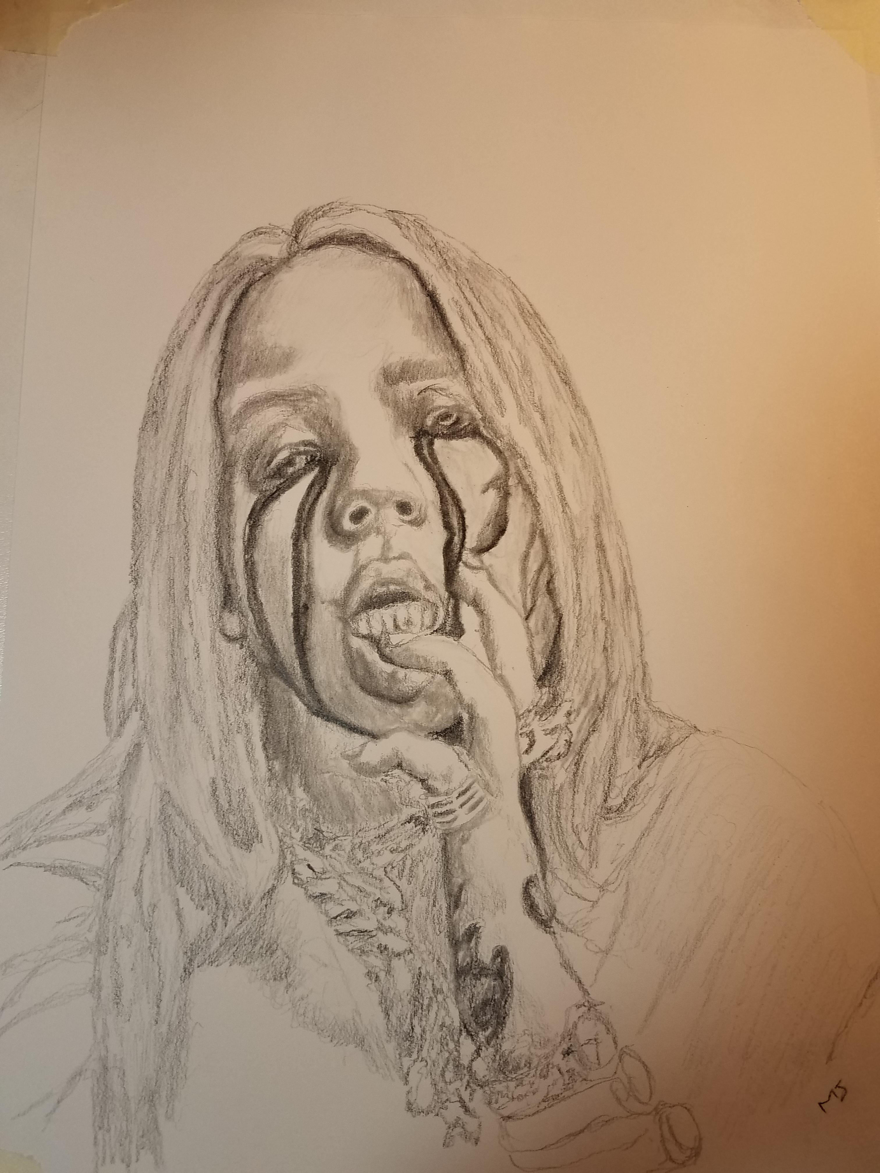Drawing Of A Girl Crying : drawing, crying, Crying, Black, Tears, Drawing