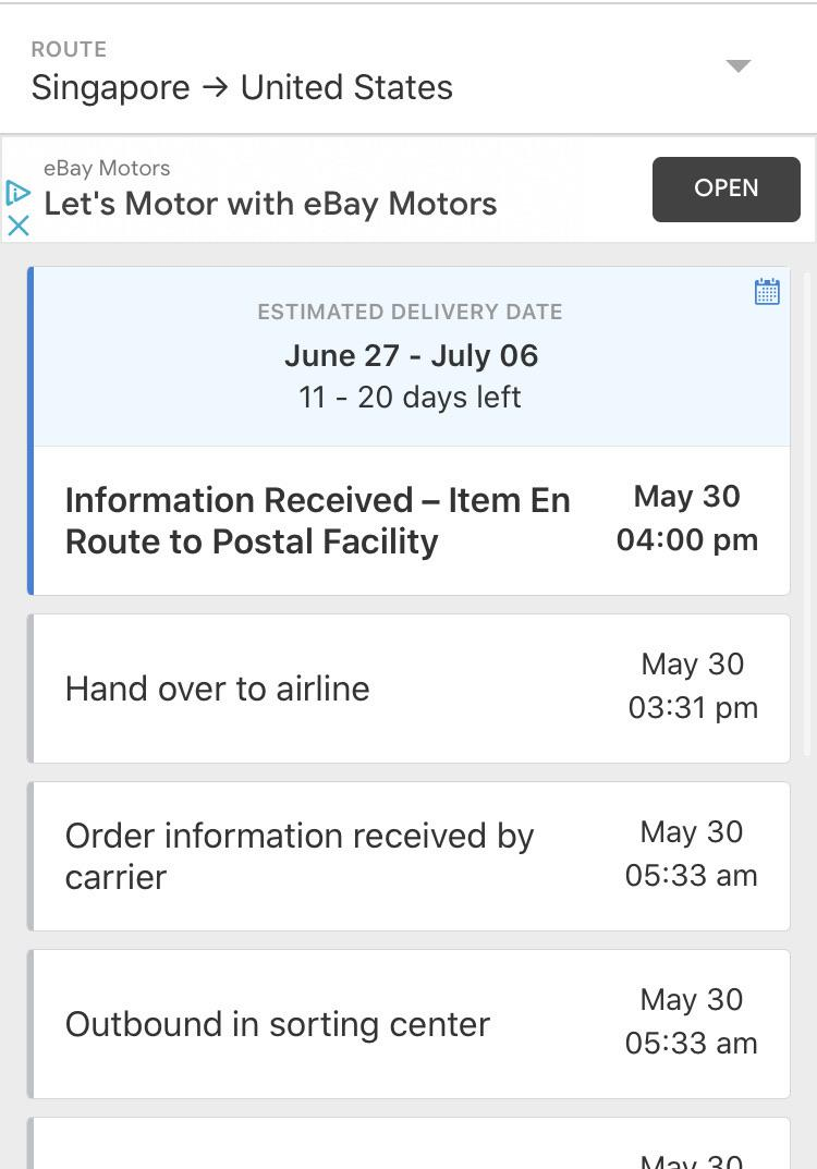 My Order From May 20 : order, Package, Stuck, Route, Postal, Facility, Singaporepost, Should, Wait?, Aliexpress
