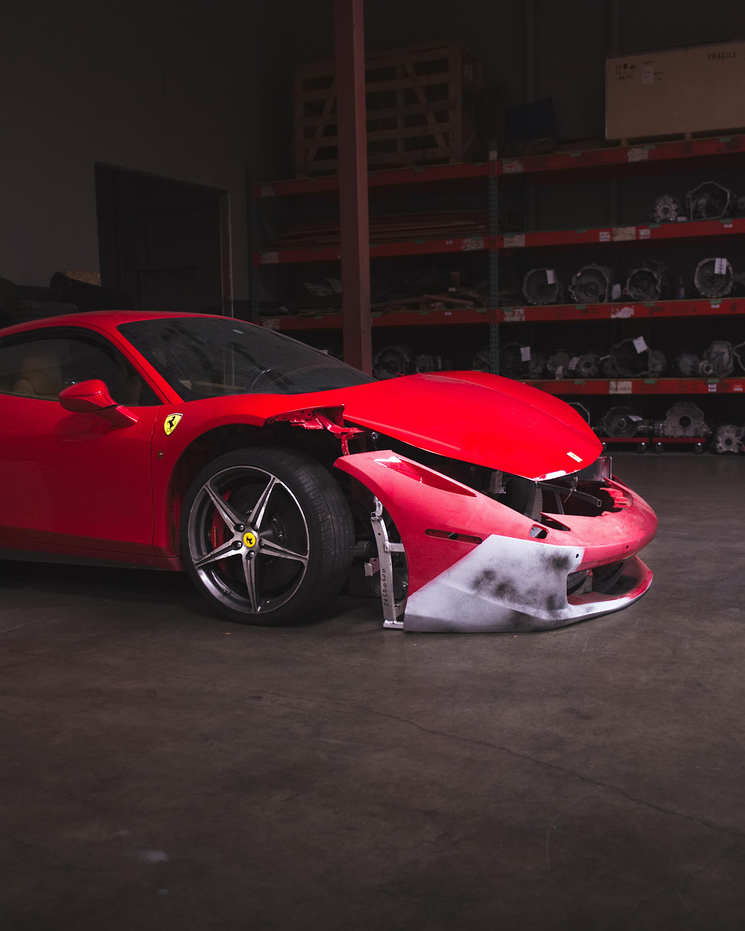 Wrecked Exotic Cars : wrecked, exotic, Wrecked, Ferrari, During, Exotic, Autocross, Event., [OC]:, Autos