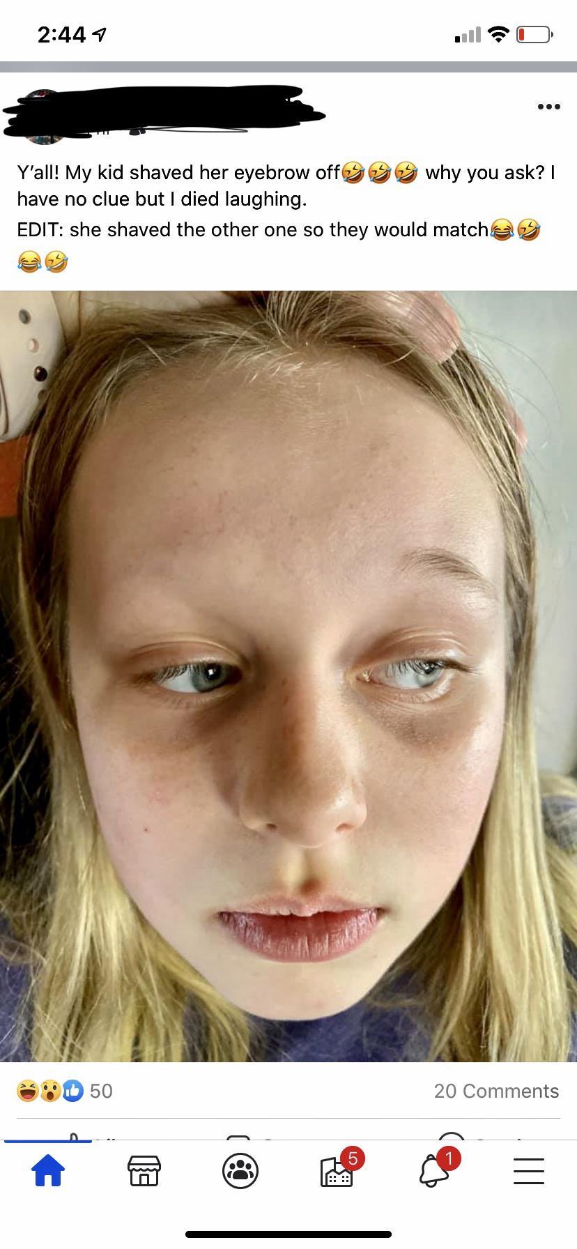 Eyebrows Kid : eyebrows, Friend, Posted, Yesterday,, Randomly, Shaved, Eyebrows, 🤦♀️, KidsAreFuckingStupid