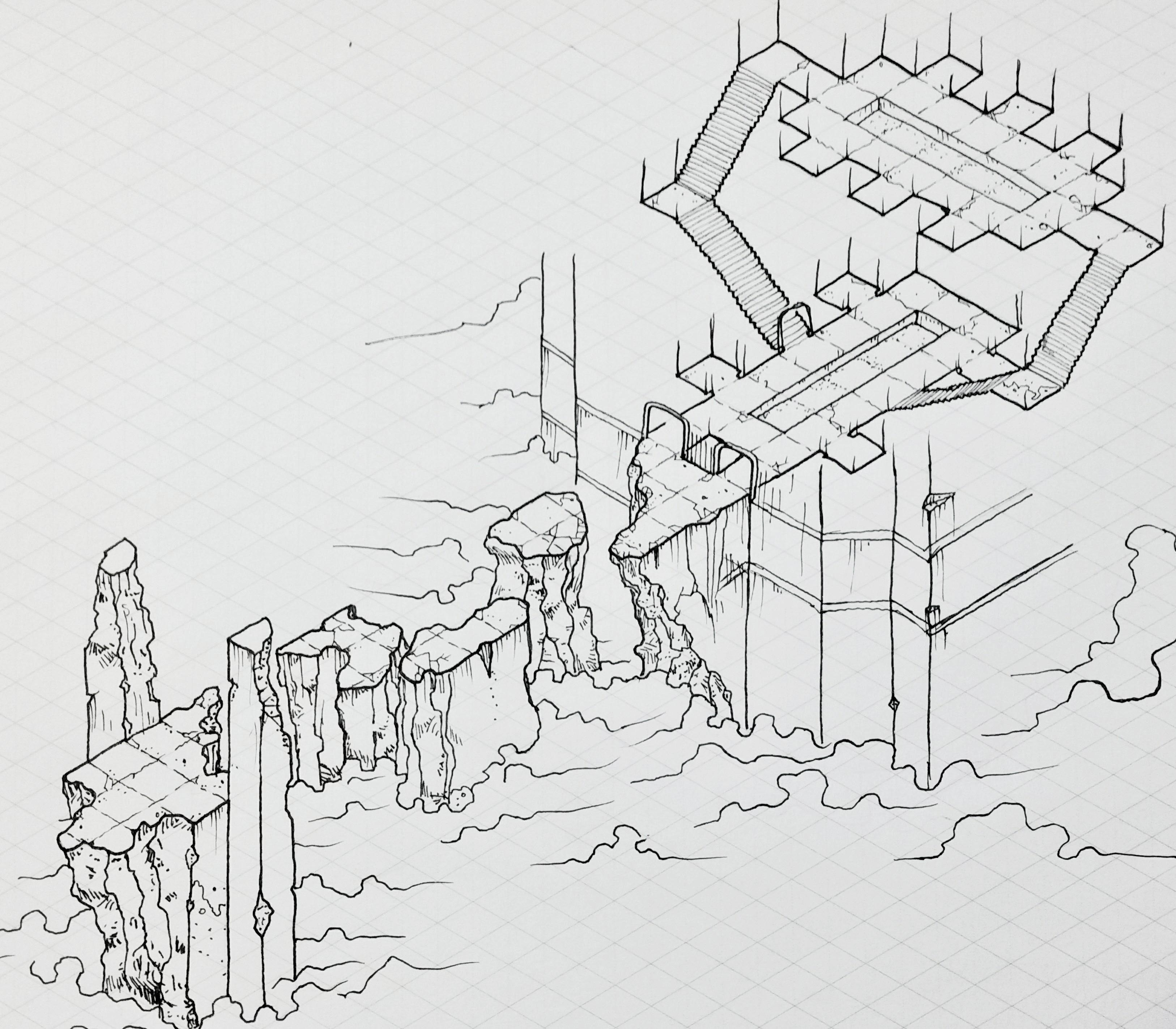 [Art] Isometric Map Art I drew a while back : DnD