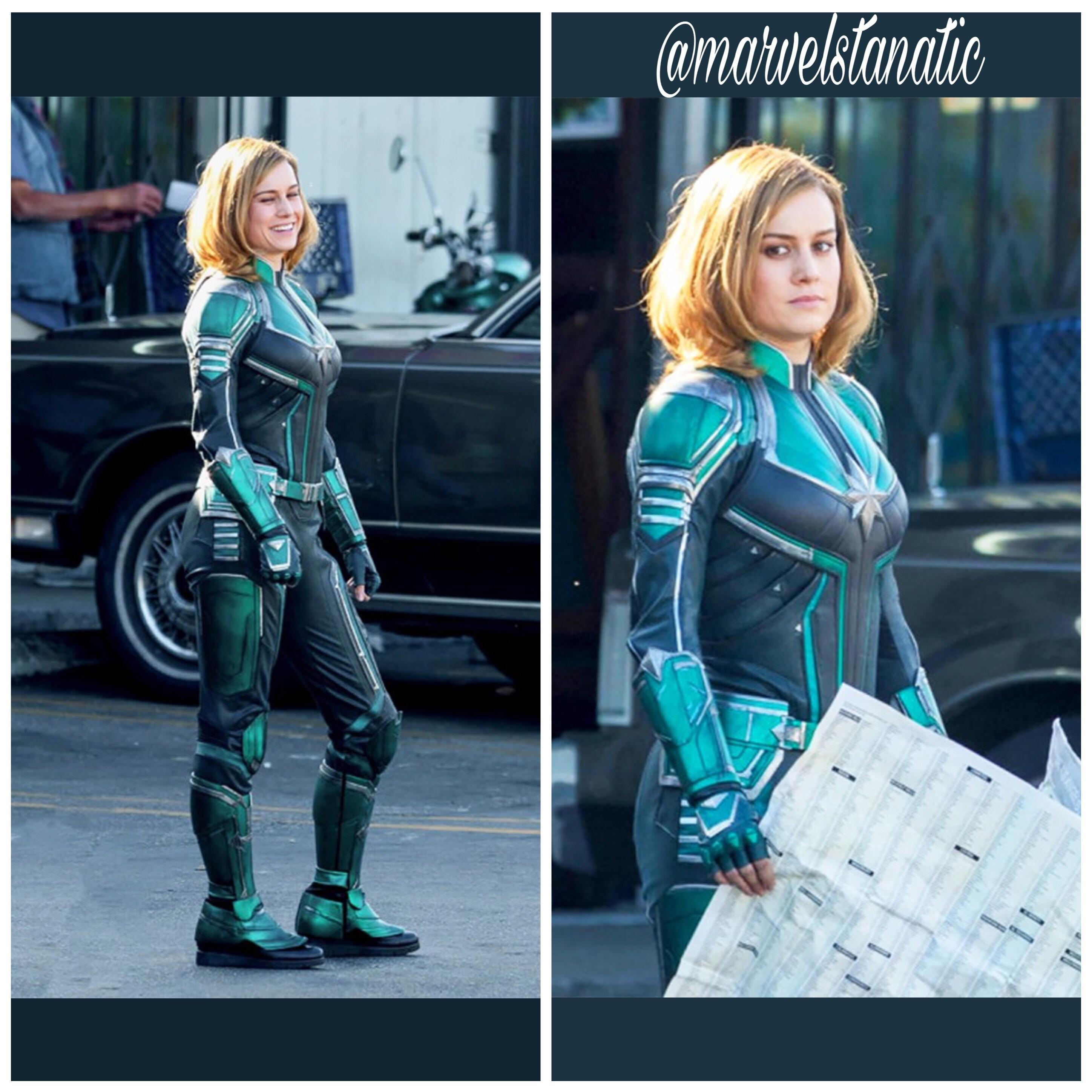 first look at brie larson suited up as captain marvel! : marvel
