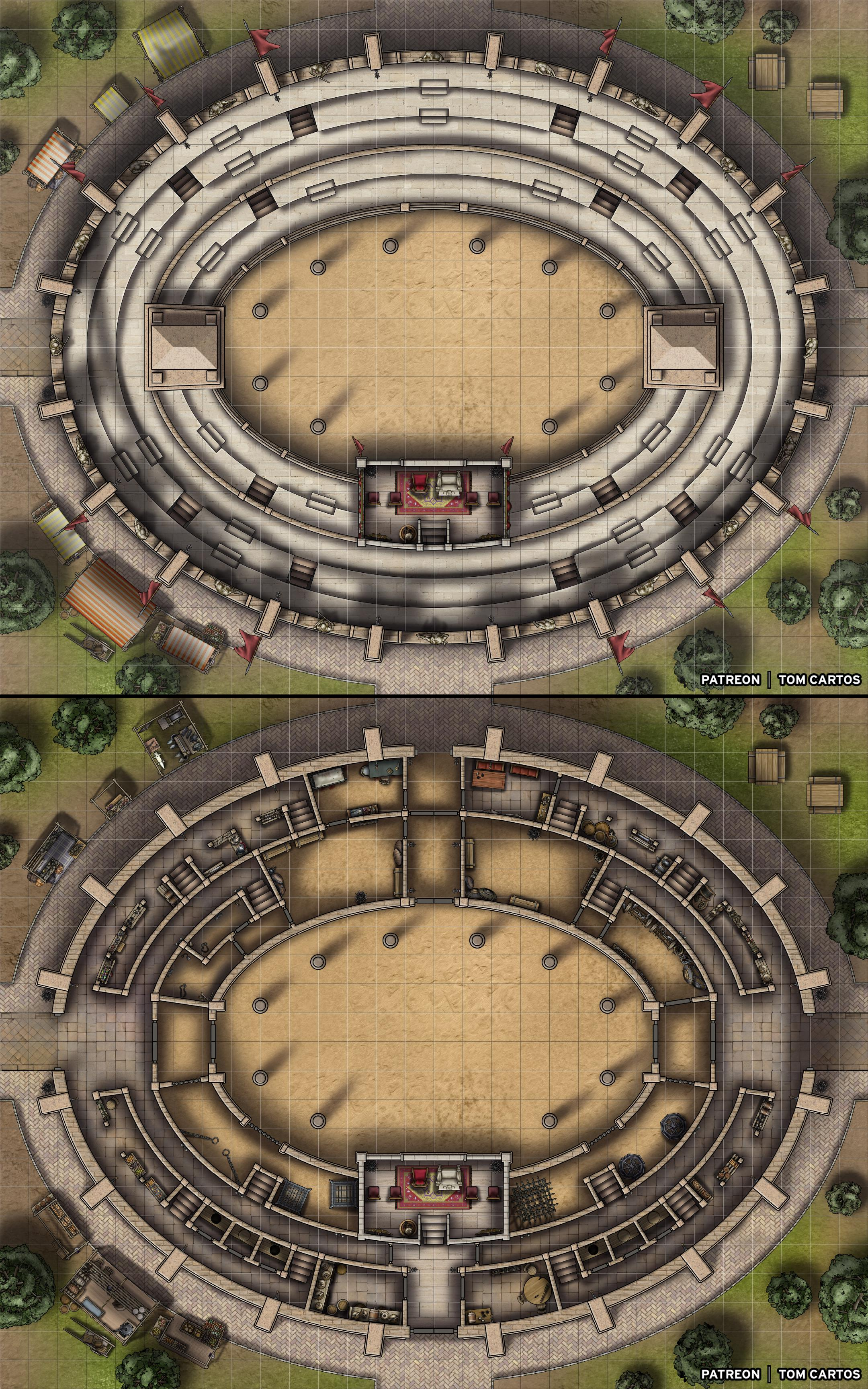 Arena Dnd Map : arena, Colosseum, Level, Battle, Arena, Stands!, [30x24x2], Roll20