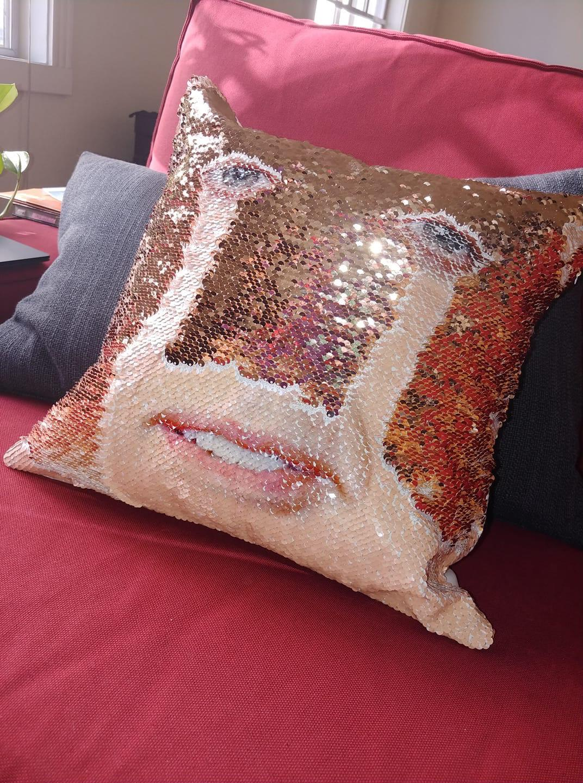 this nicholas cage sequin pillow