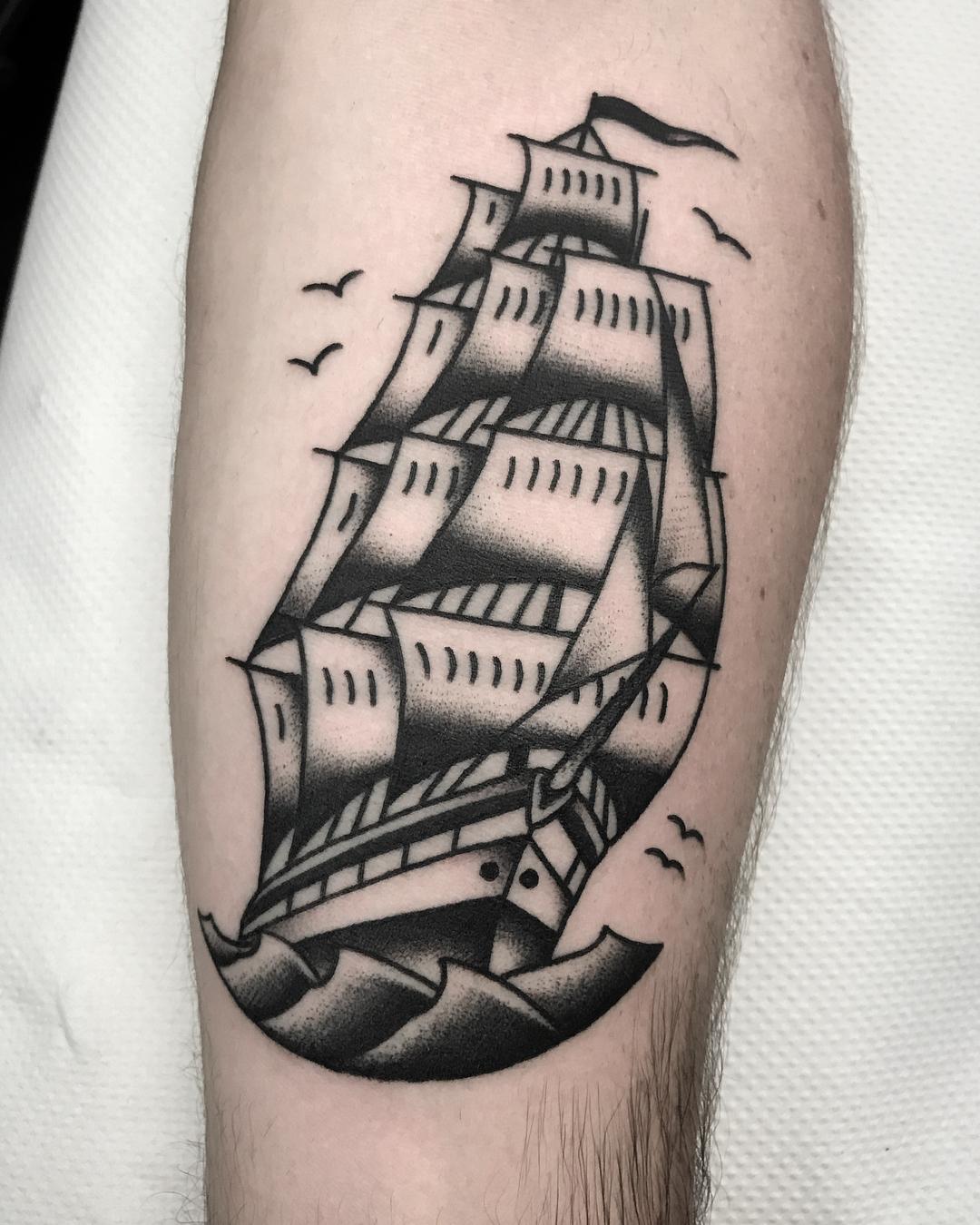 Traditional Ship Tattoo : traditional, tattoo, Traditional, Andrea, Giulimondi, Family, Business, Tattoo, London, Tattoos