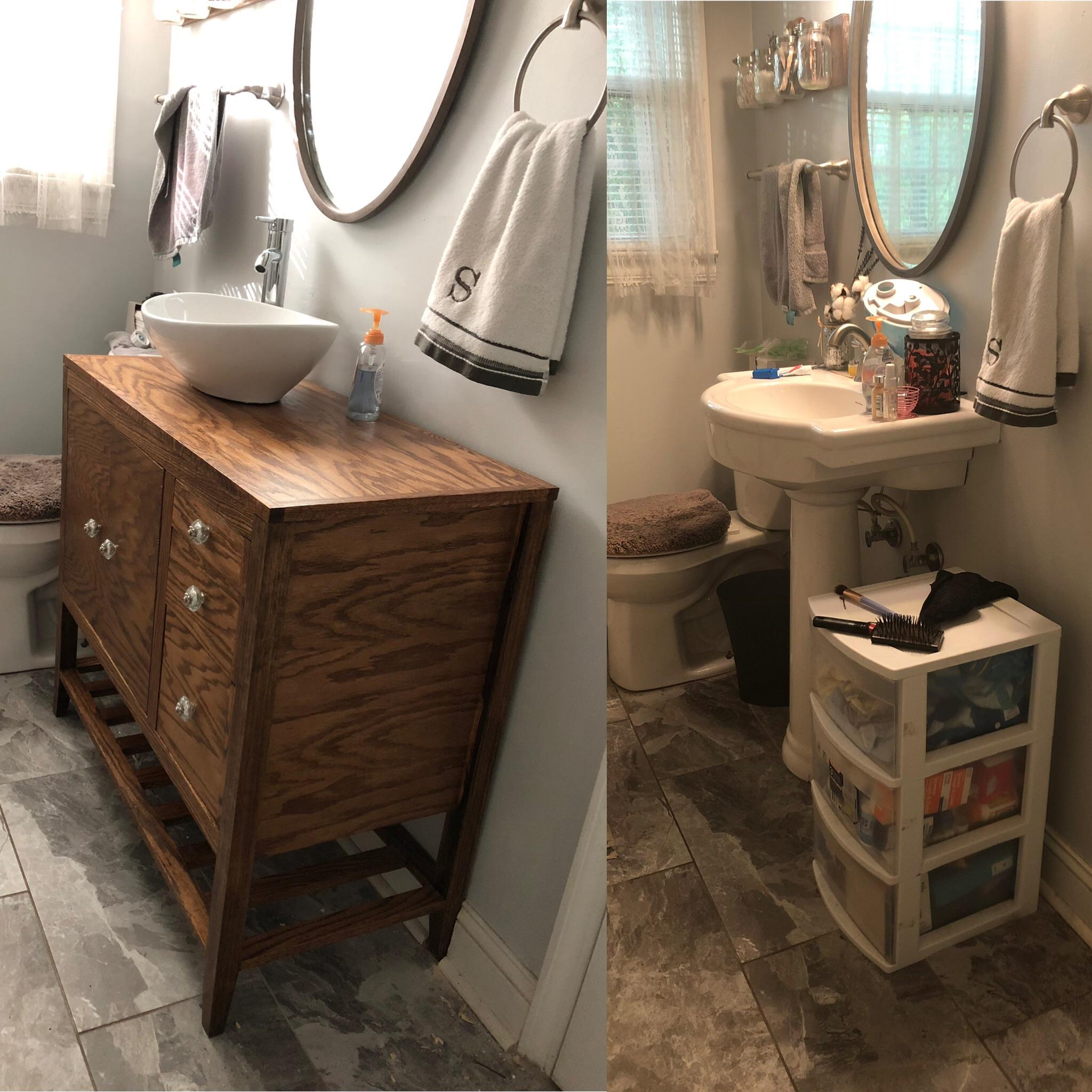 vanity to replace our pedestal sink so
