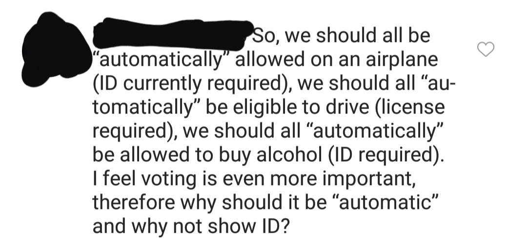 On a post about automatic voter registration