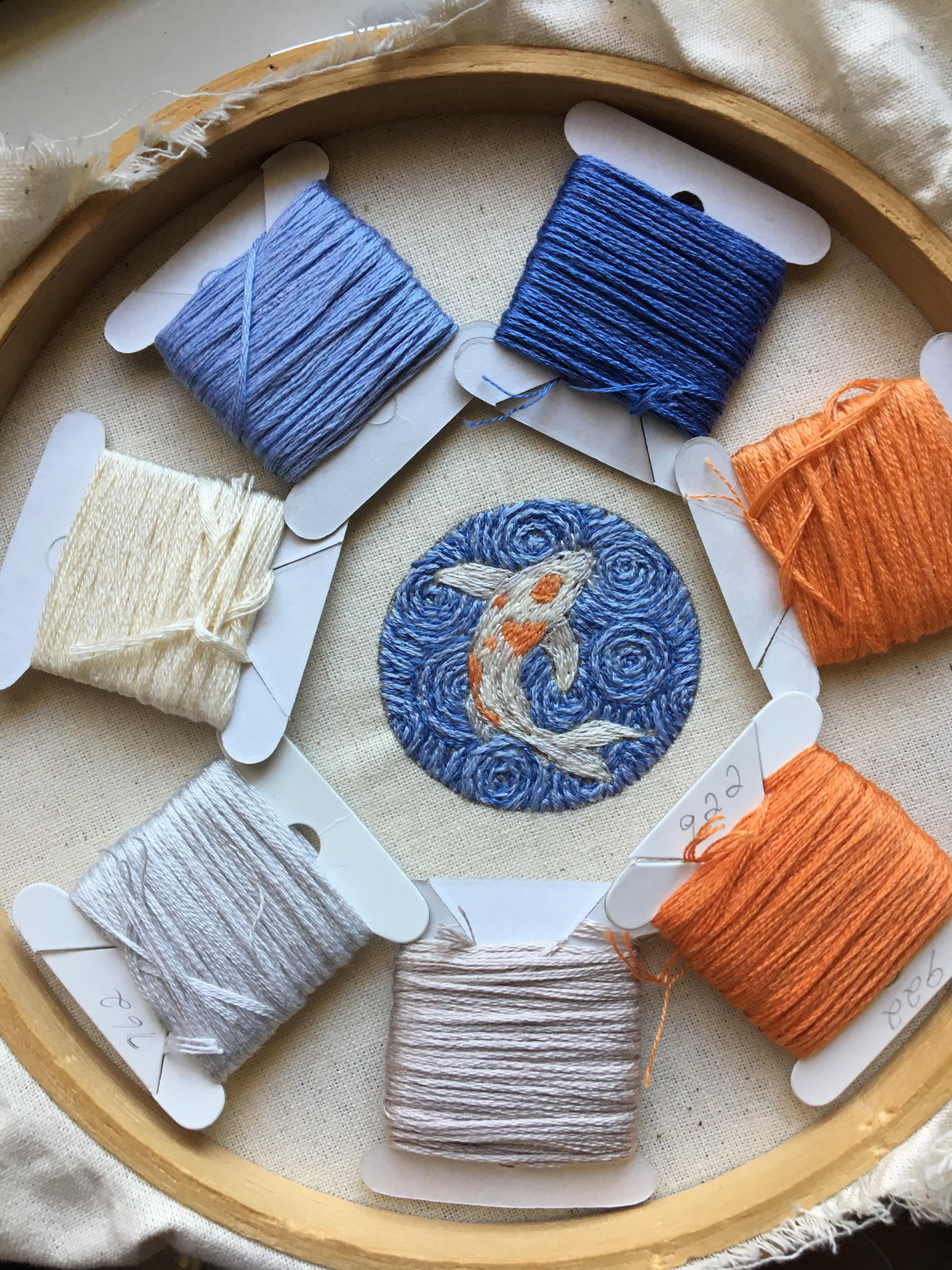 Koi Fish Embroidery : embroidery, Recent, Started, Getting, Embroidery,, Sewed., Planning, Little, Patch, Soon., Sewing