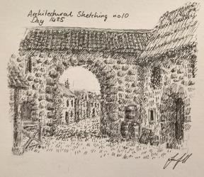 a medieval village scene for dailysektch 1425 : drawing
