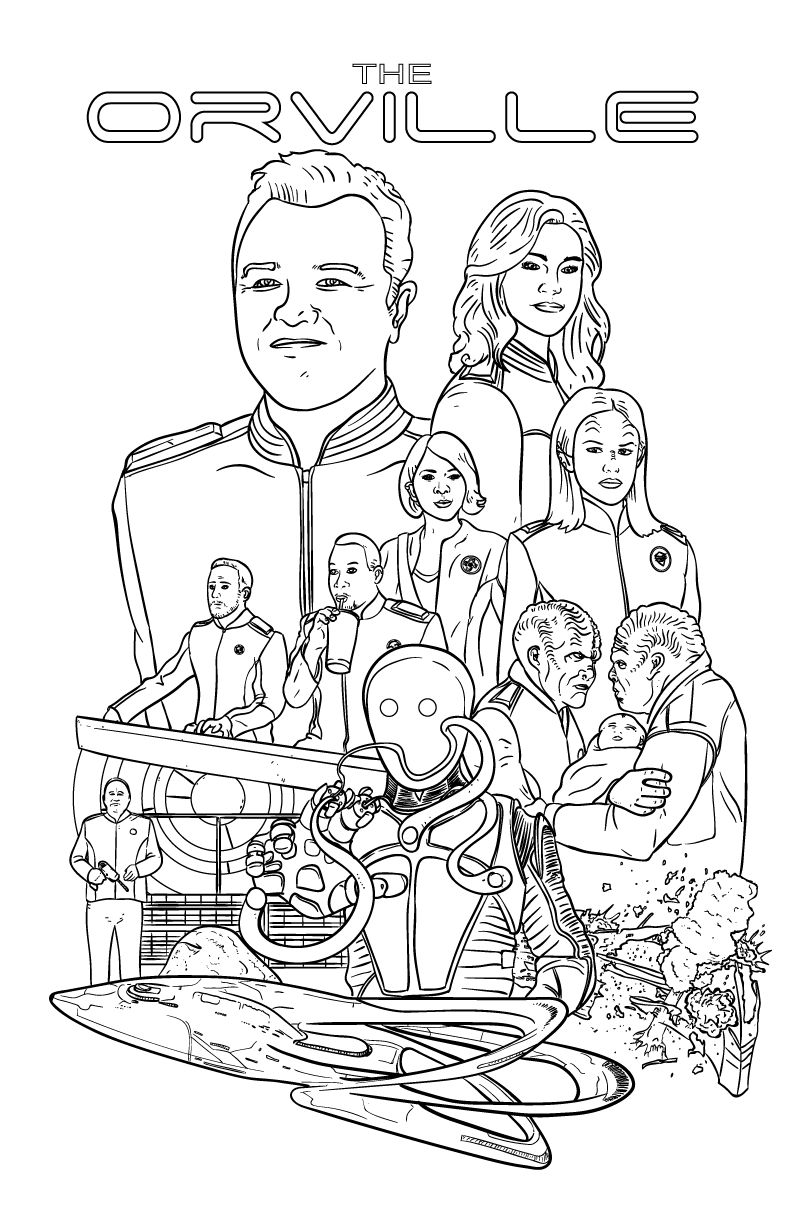 I drew an Orville coloring book page for you guys. Enjoy