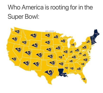 Image result for whos america rooting for super bowl meme