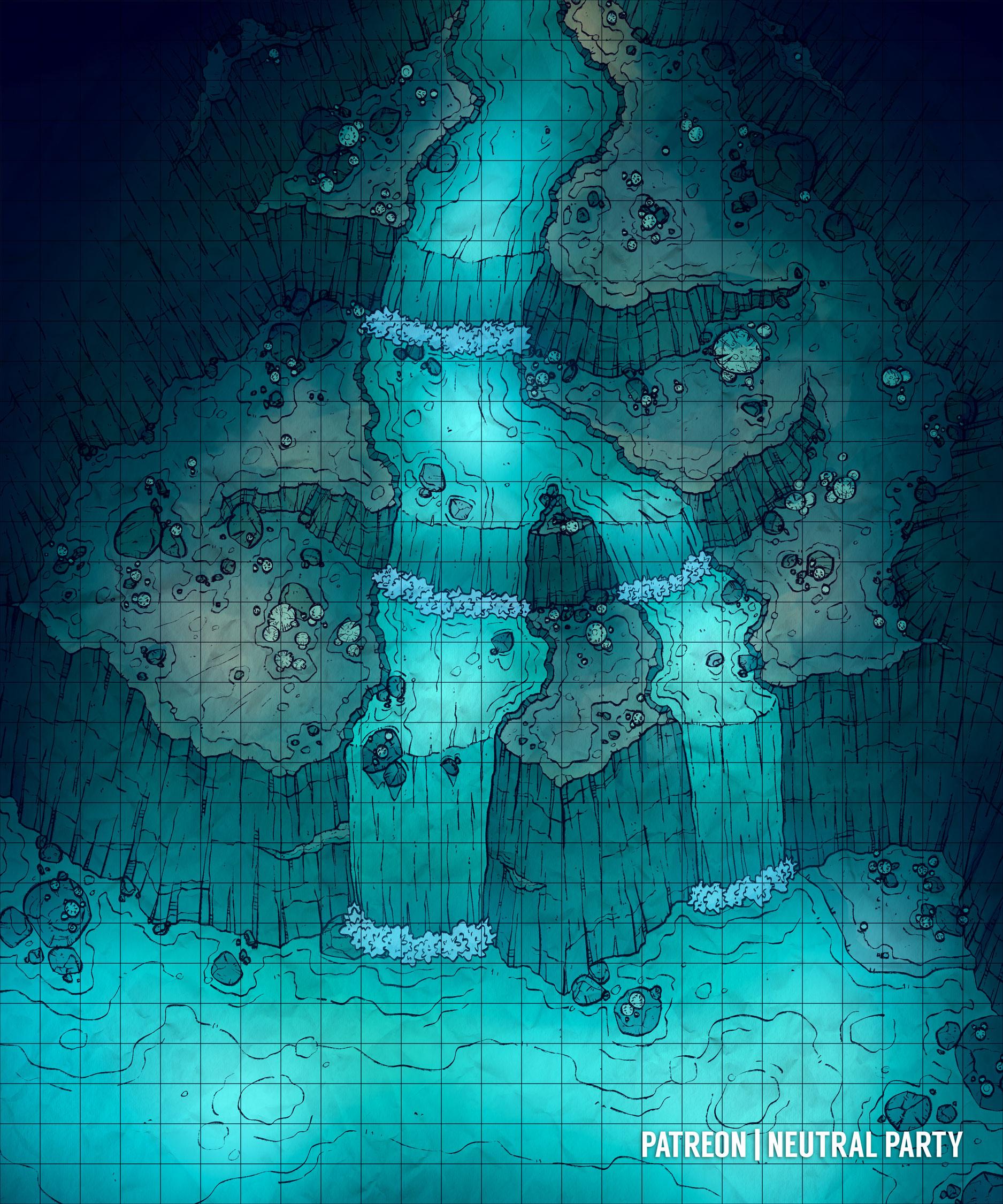 Underdark Map : underdark, Underdark, Waterfall, Battlemap, DungeonsAndDragons