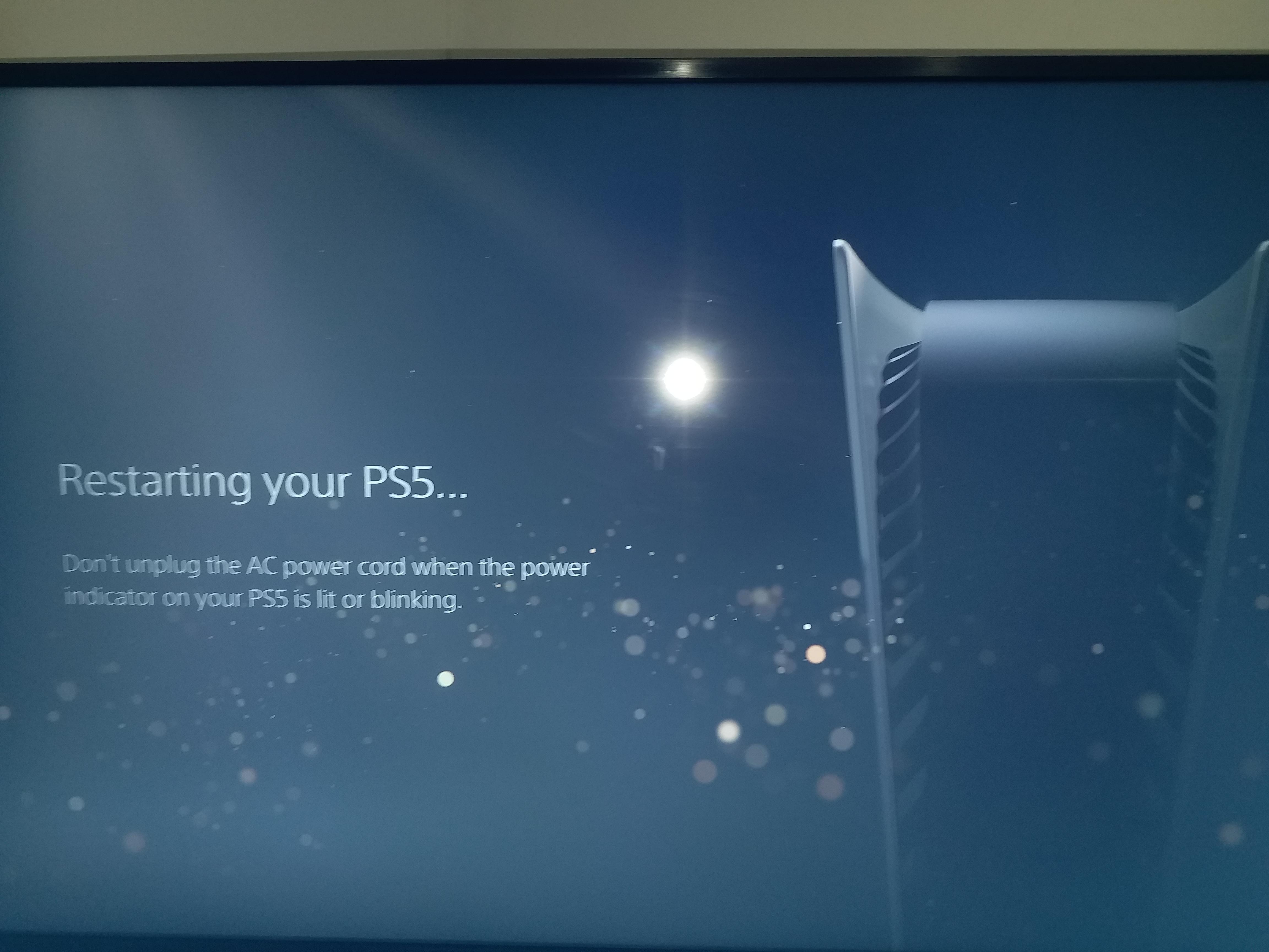 PS5'i yeniden başlatma