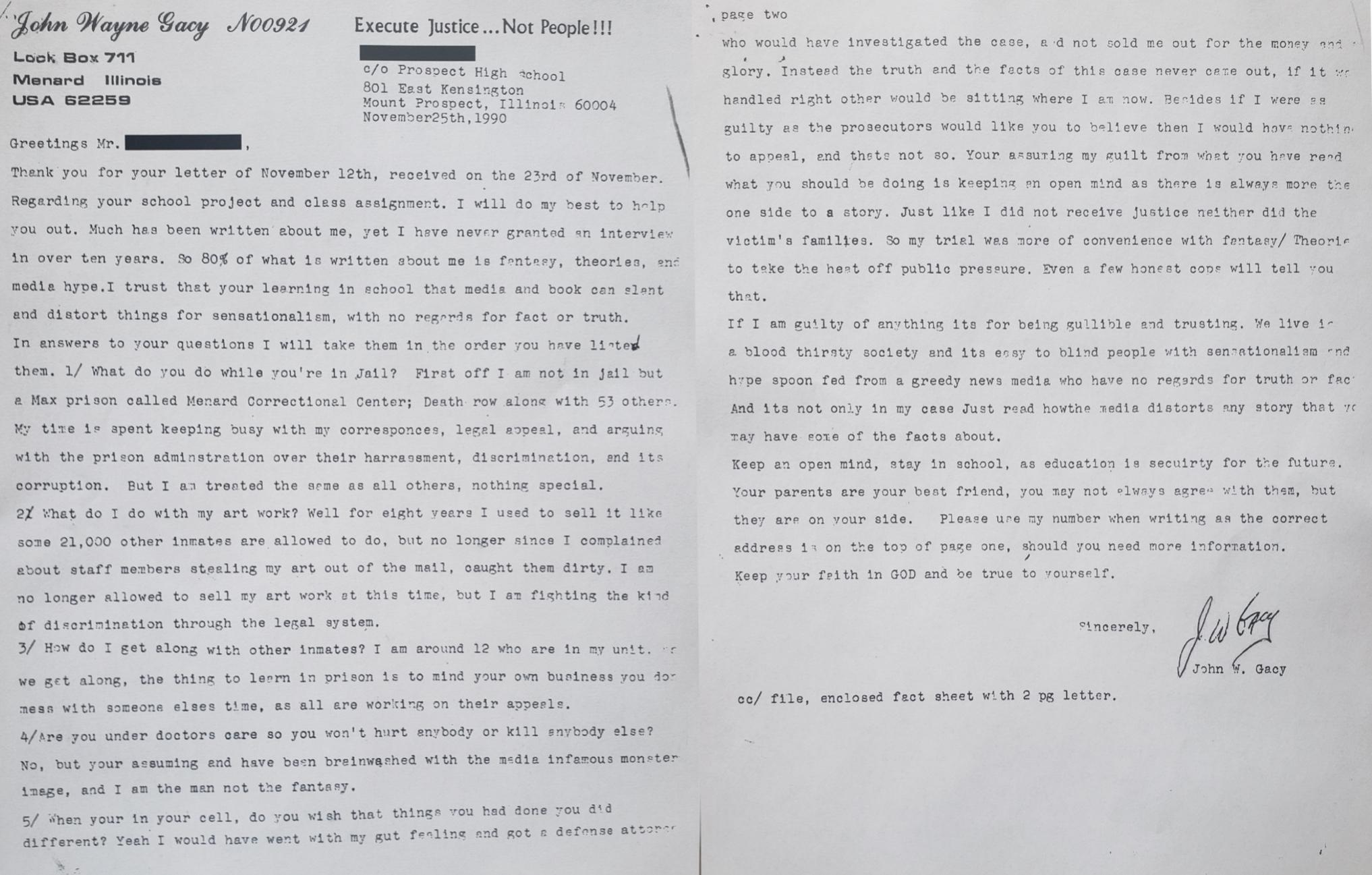 A teacher recently found a letter from John Wayne Gacy in