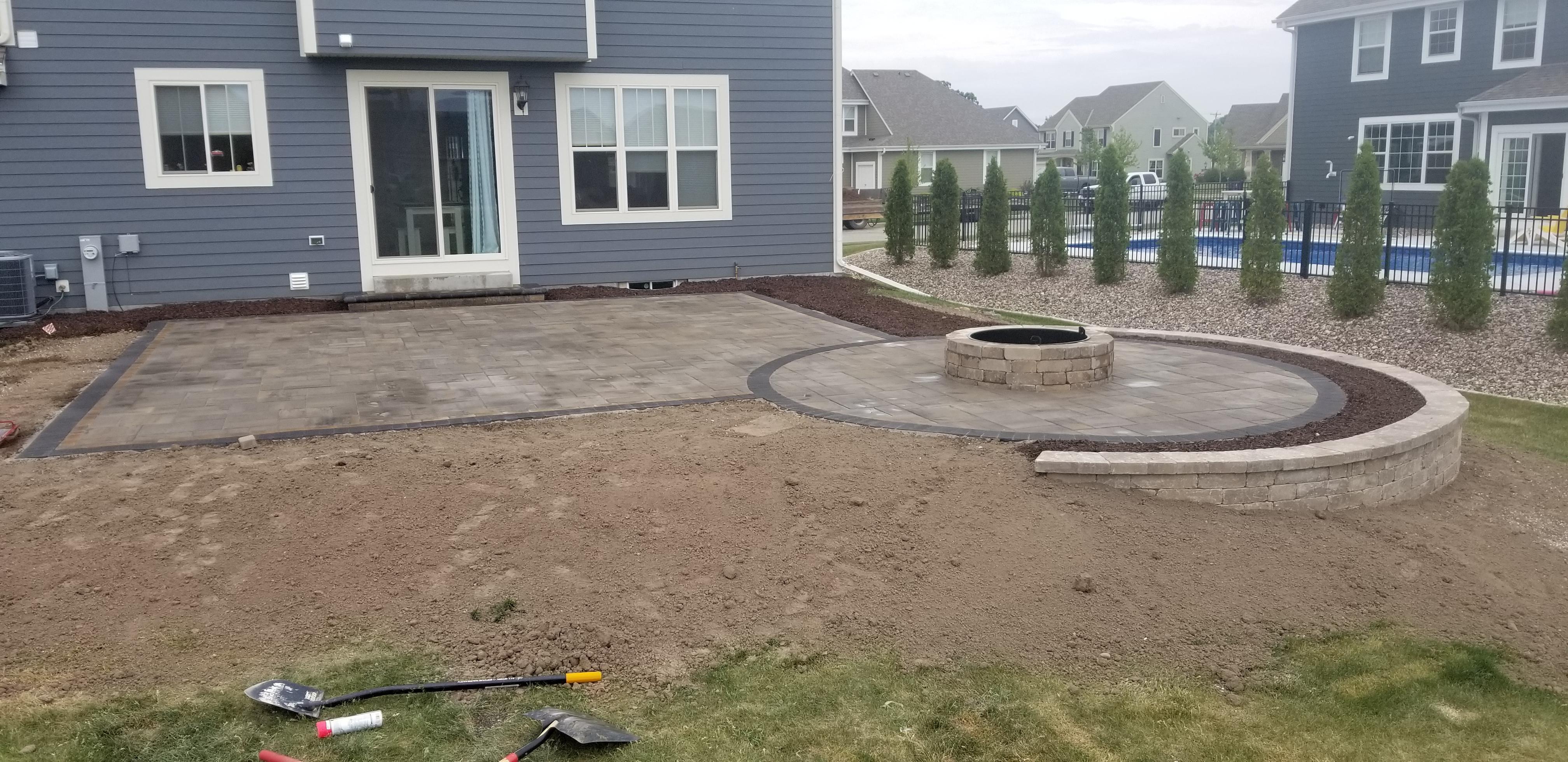 paver patio retaining wall and gas