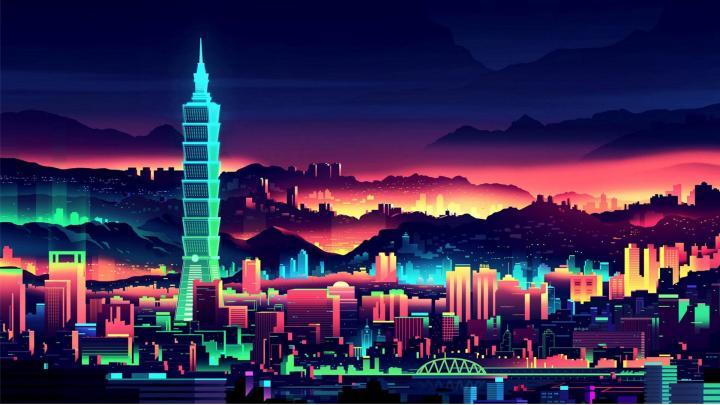 Colorful Neon Vaporwave Buildings Skyscraper [1920×1080]
