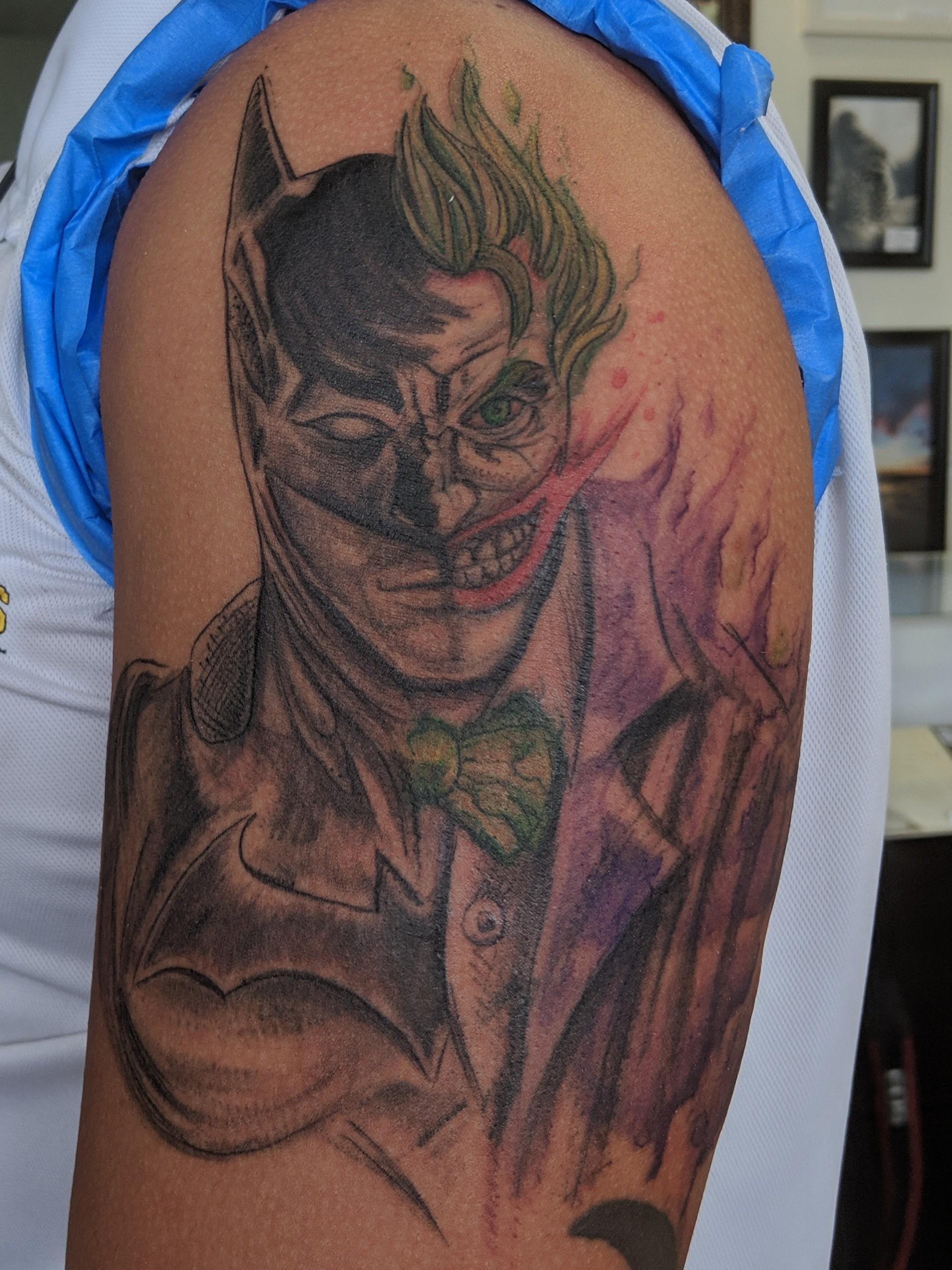 Batman Joker Tattoo : batman, joker, tattoo, Batman/Joker, Tattoo, Batman