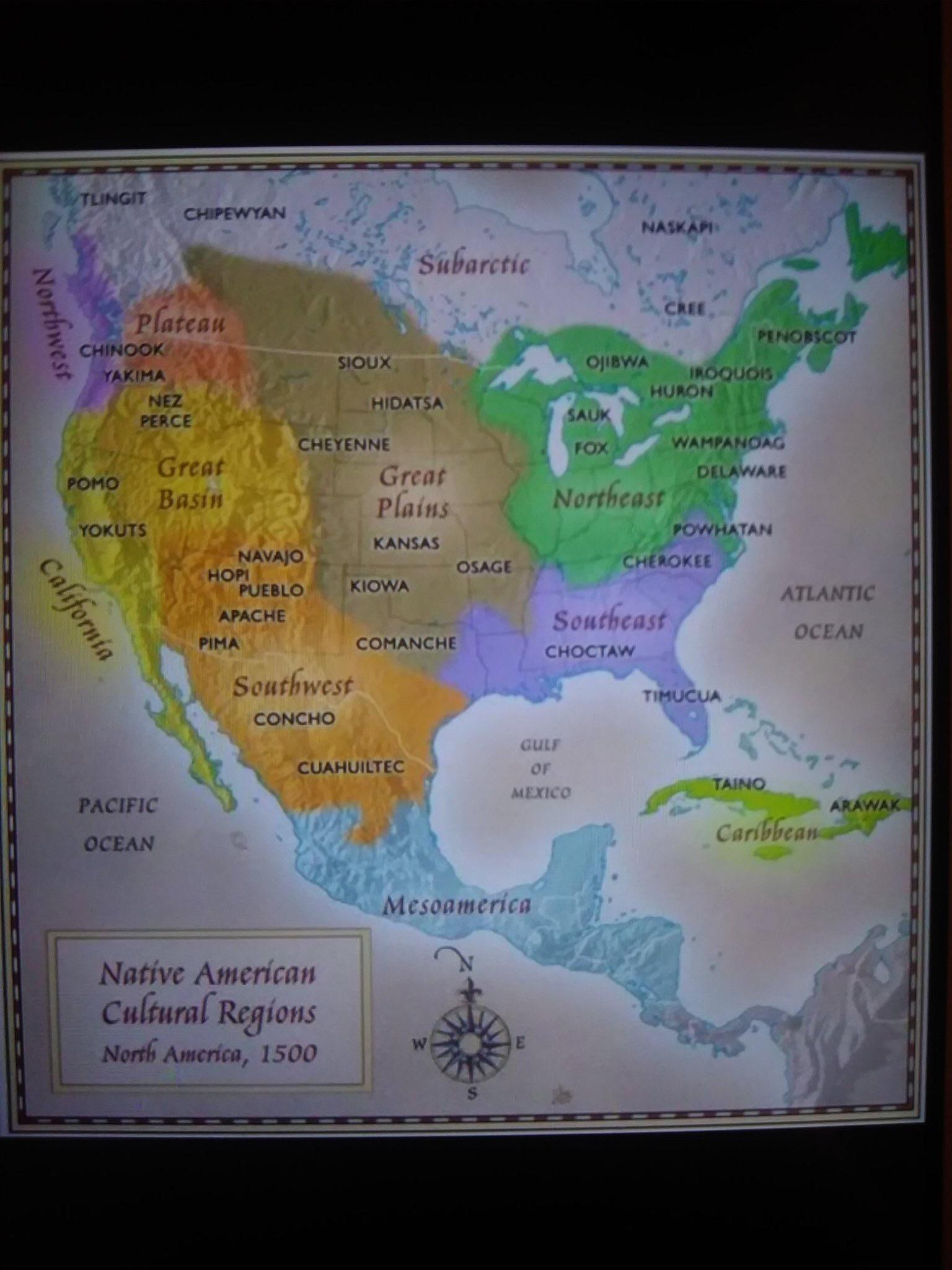 Native American Tribe Regional Map Of Pre Colonial North