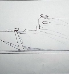 mediaquick drawing 2017 f1 car with shark fin engine cover  [ 2828 x 1112 Pixel ]
