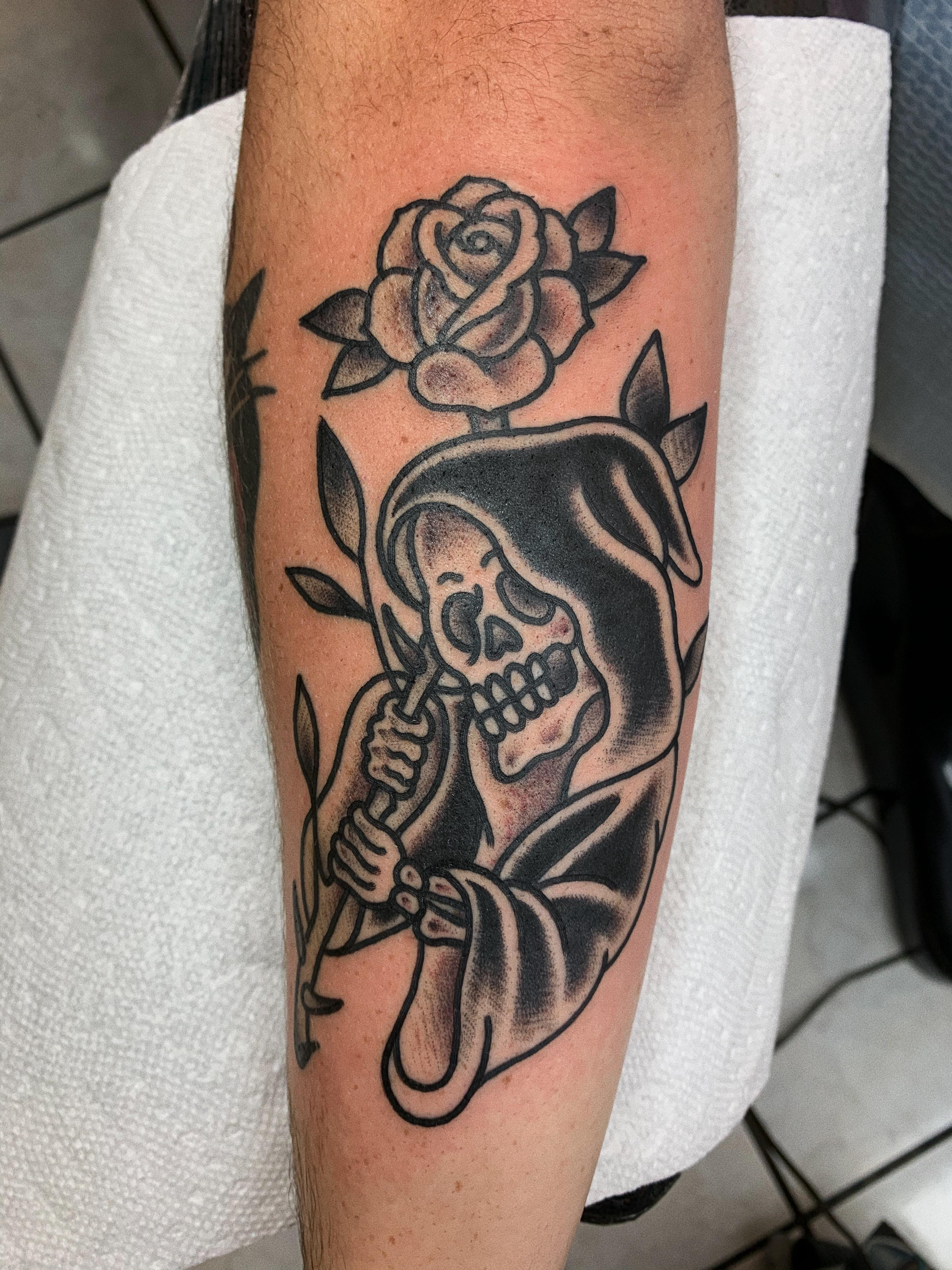 Traditional Reaper Tattoos : traditional, reaper, tattoos, Traditional, Reaper, Hotte,, Solid, Tattoo, Elmont,, Tattoos