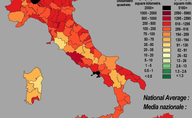 Population Density Map Of Italy Mapporn