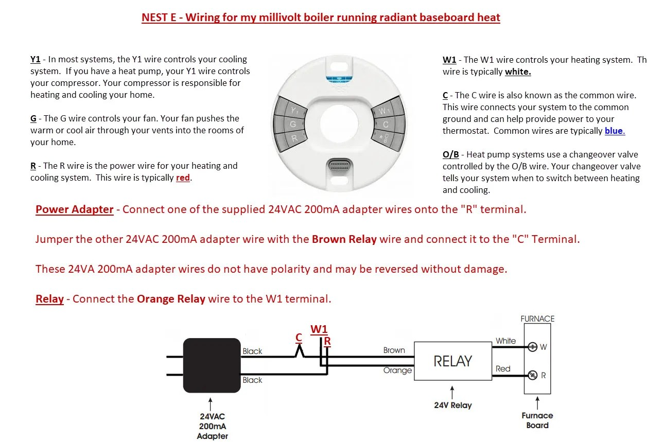 hight resolution of thermostatconnected nest e to old millivolt lp water boiler radiant heat
