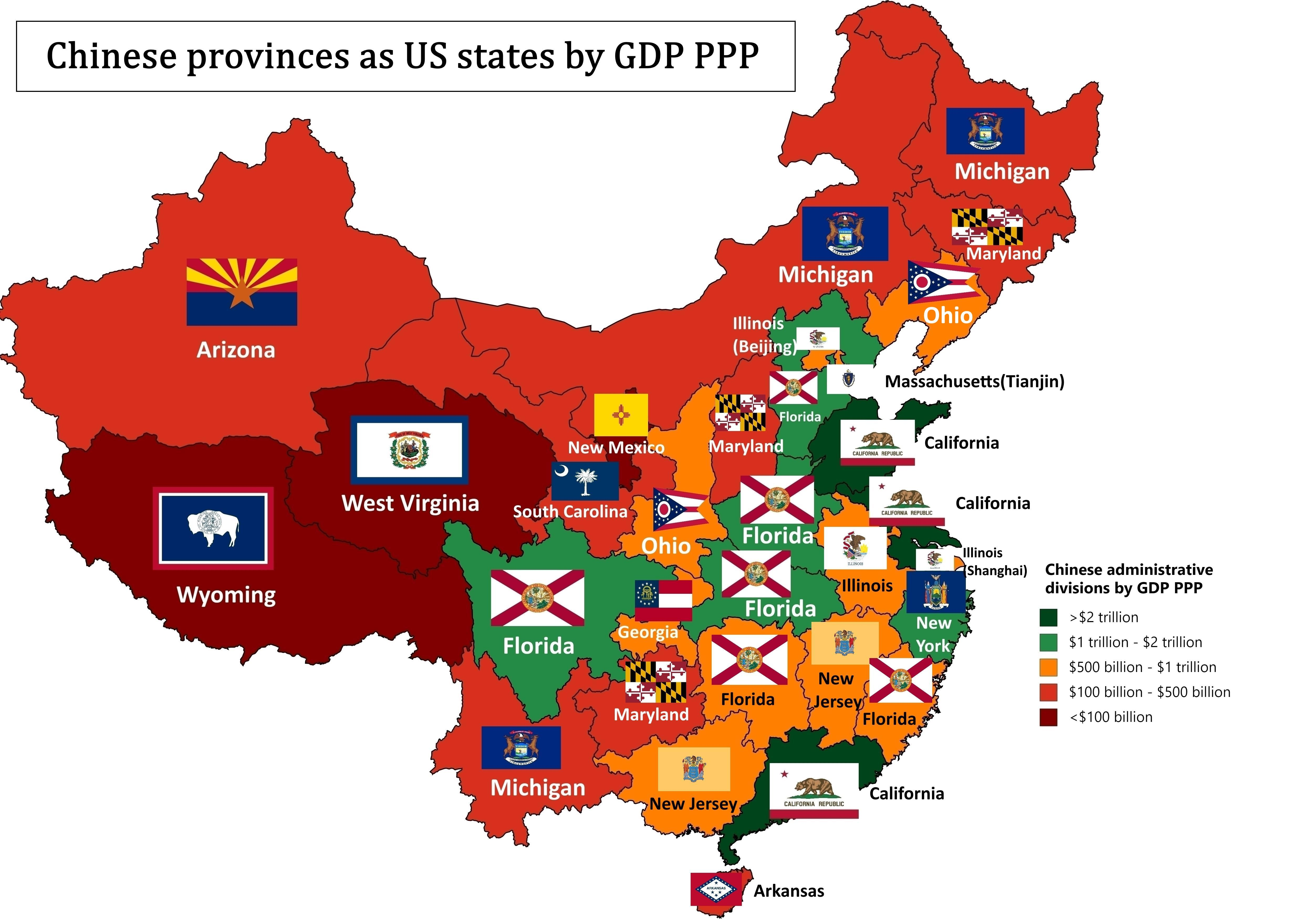 Chinese Provinces As Us States By Gdp Ppp Map