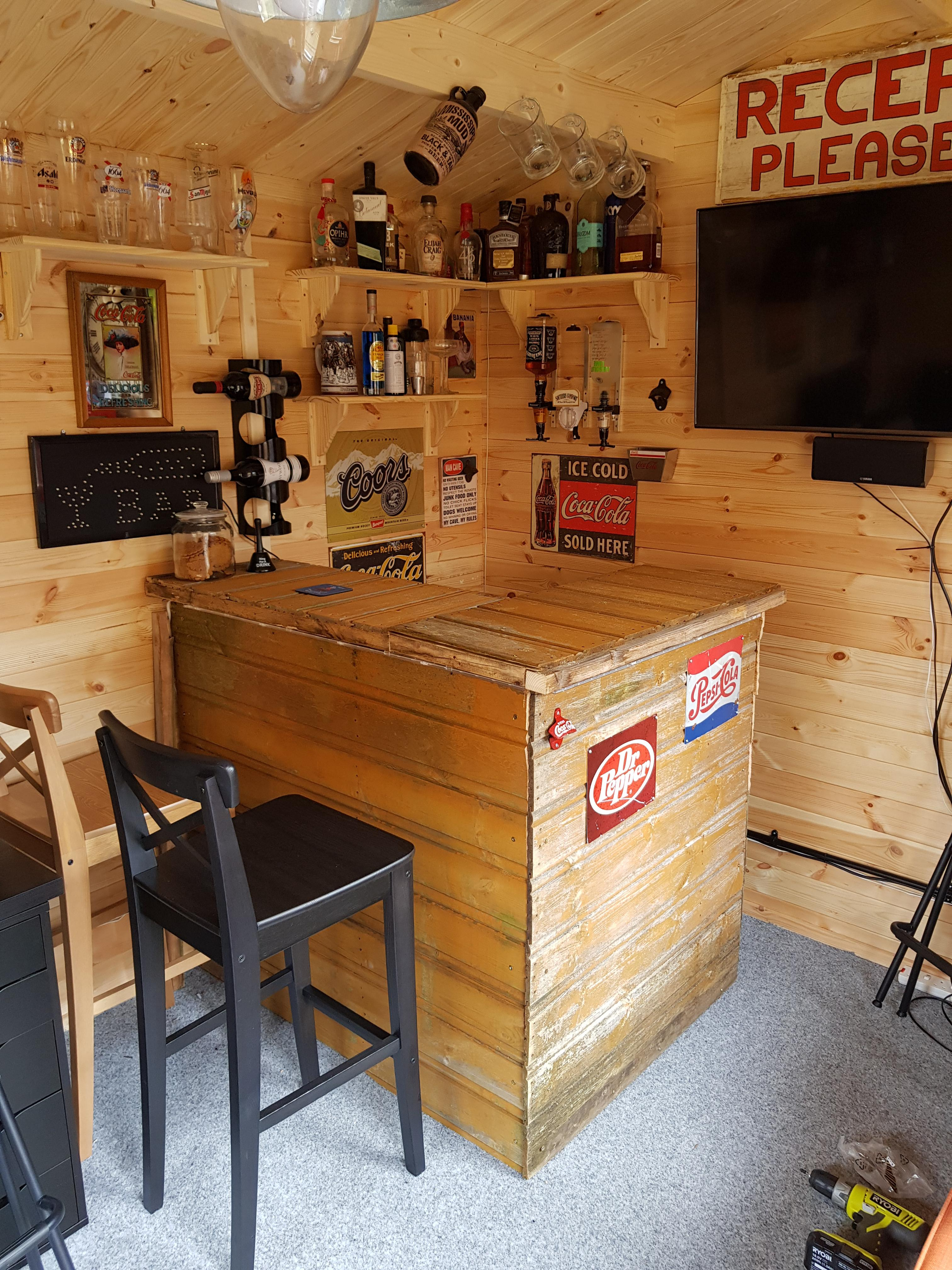 Log Cabin Man Cave Built My Bar Out Of An Old Shed Work In Progress Plenty Of Glasses Under The Bar Also Have A Beer Tap Thats Still To Be Attached