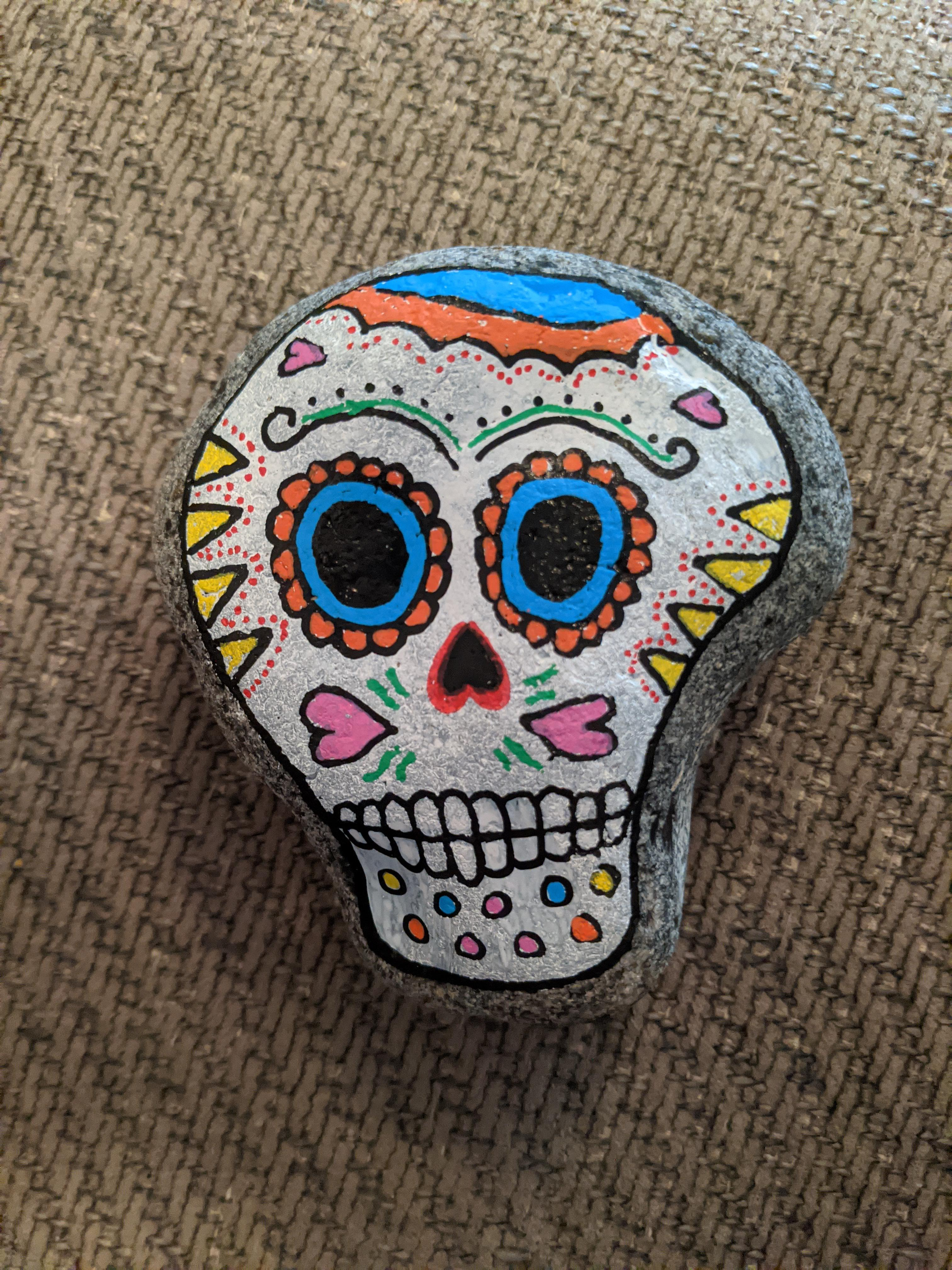Sugar Skull Rock Painting : sugar, skull, painting, Quite, Impressed, Sugar, Skull, Third, Painting!, 😁💀, Rockpainting