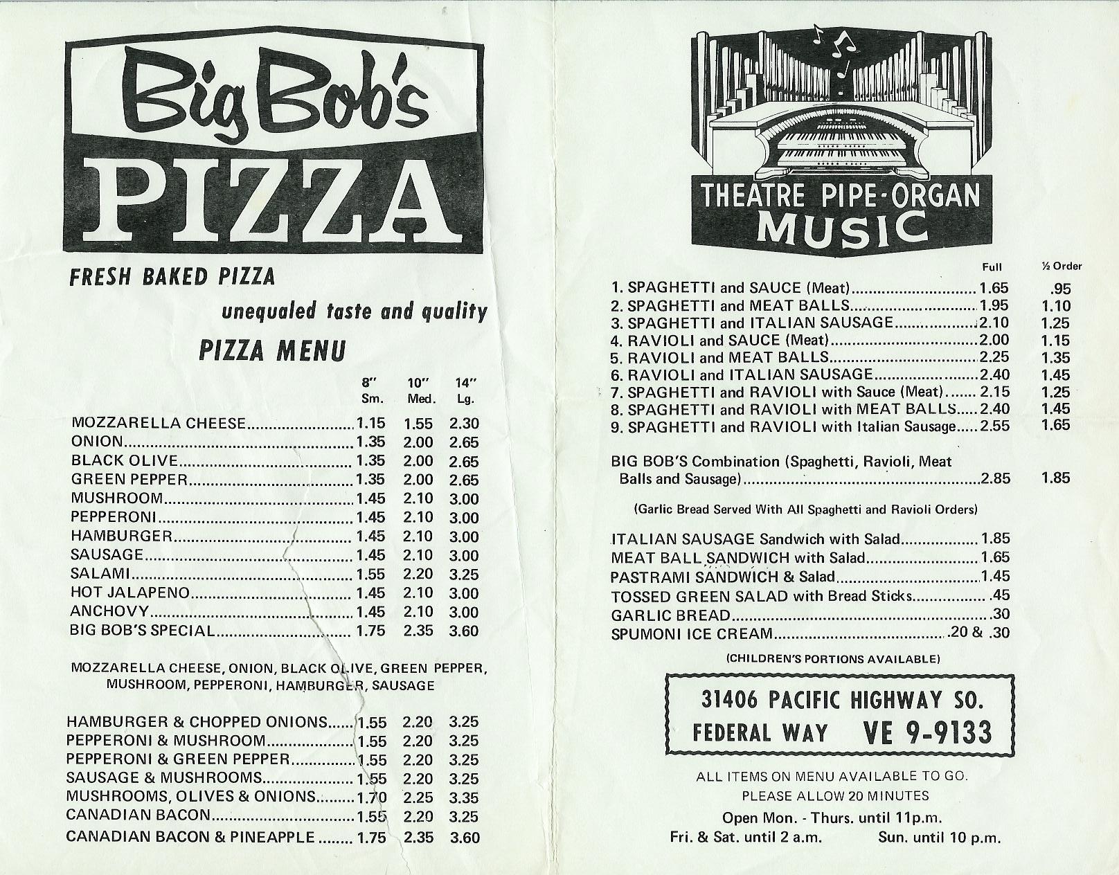Big Bob's Pizza, Federal Way, Washington, c.1970s
